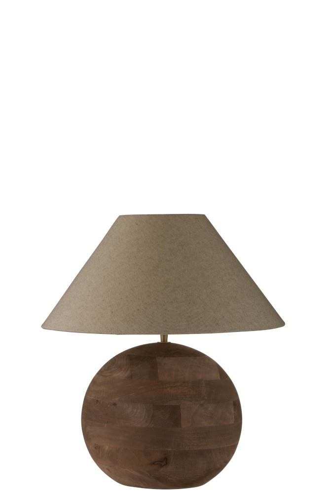 J-line Lamp+Kap Bol Mia Mangohout Bruin Small-99007-5415203990075