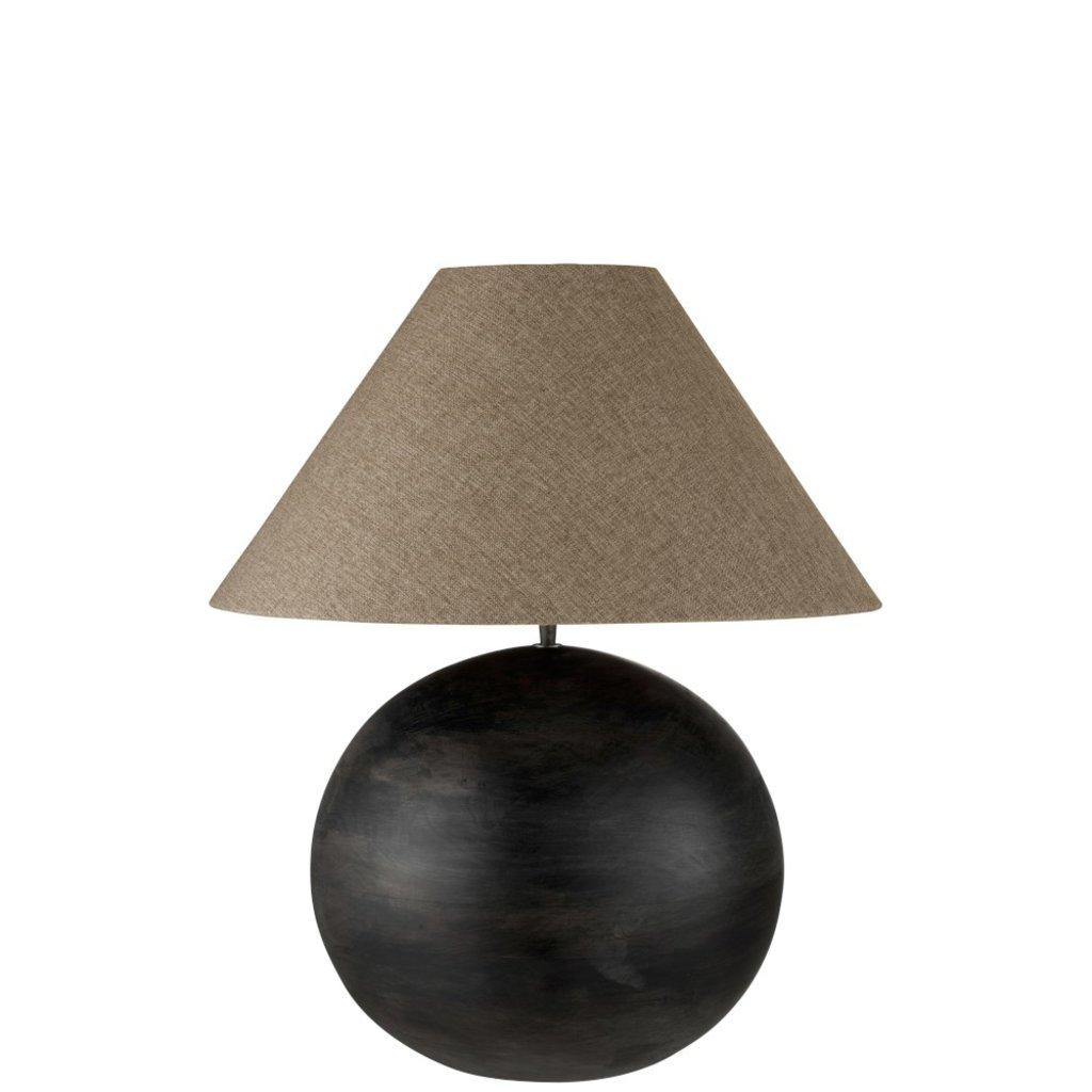 J-line Lamp+Kap Bol Mia Mangohout Donker Grijs Large - 99009