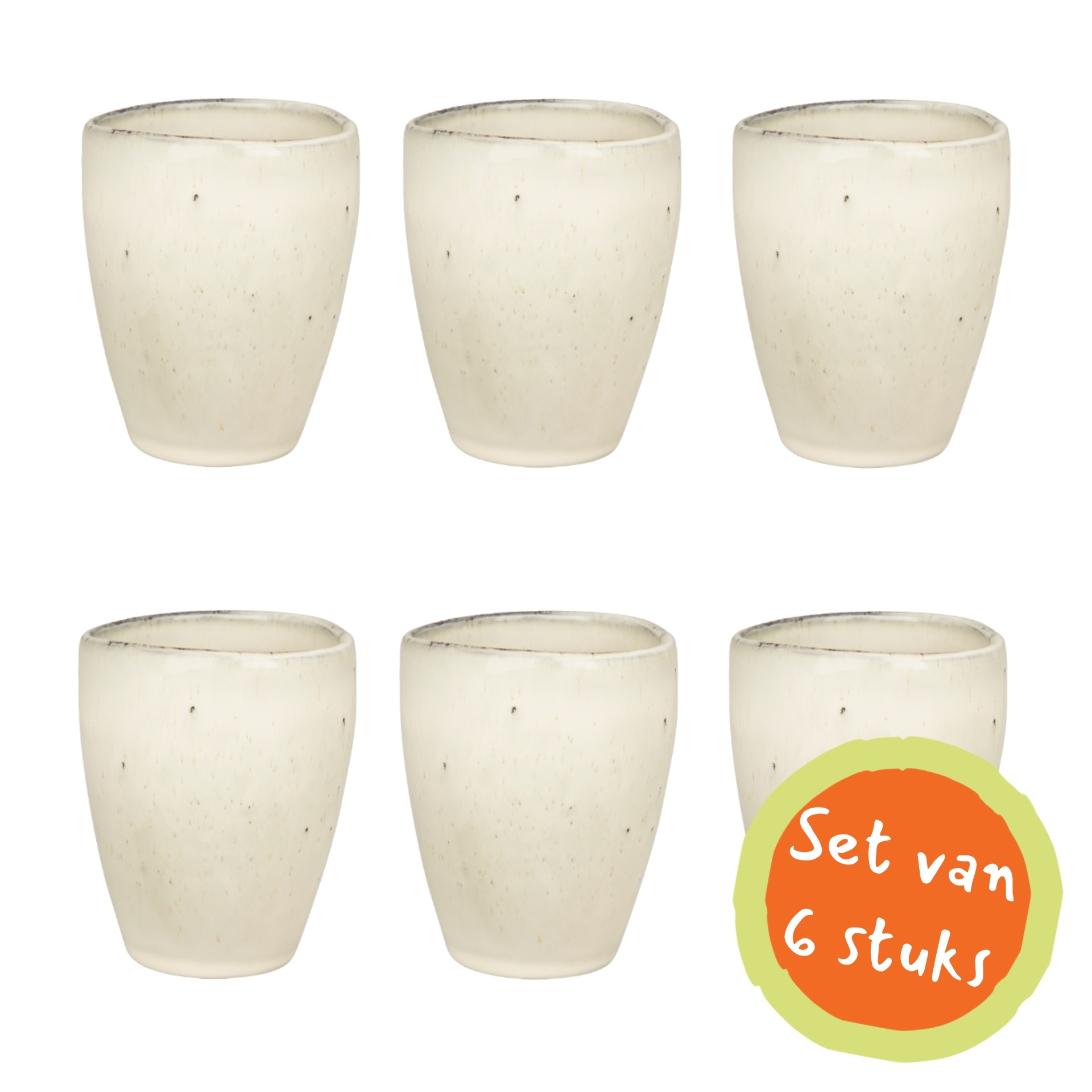 Broste Copenhagen beker/mok Nordic Sand - grijs/wit aardewerk - 250 ml - set van 6
