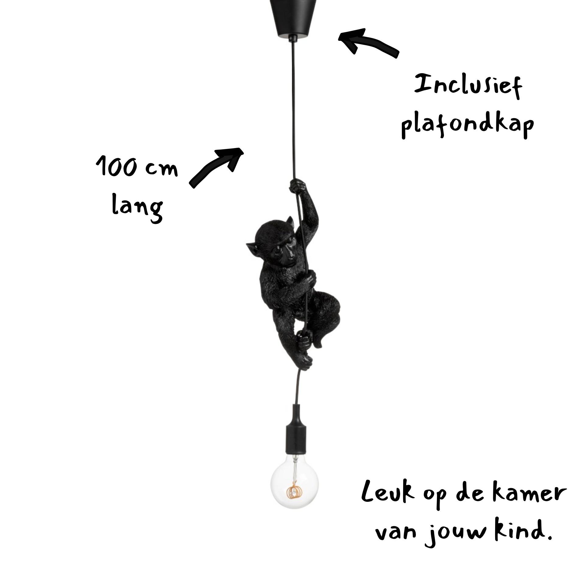 J-line Hanglamp aap - monkey lamp - zwart kunststof