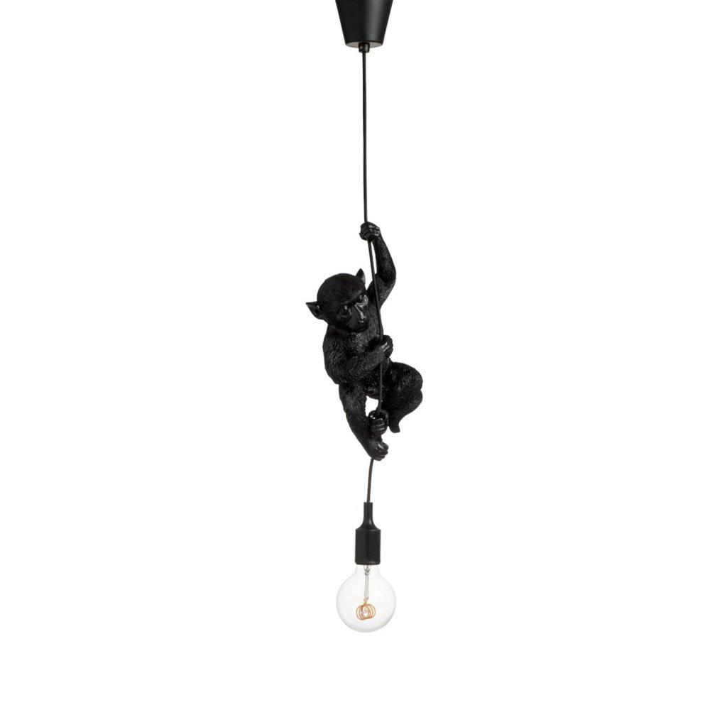 J-line Hanglamp aap - monkey lamp - zwart kunststof - 94255