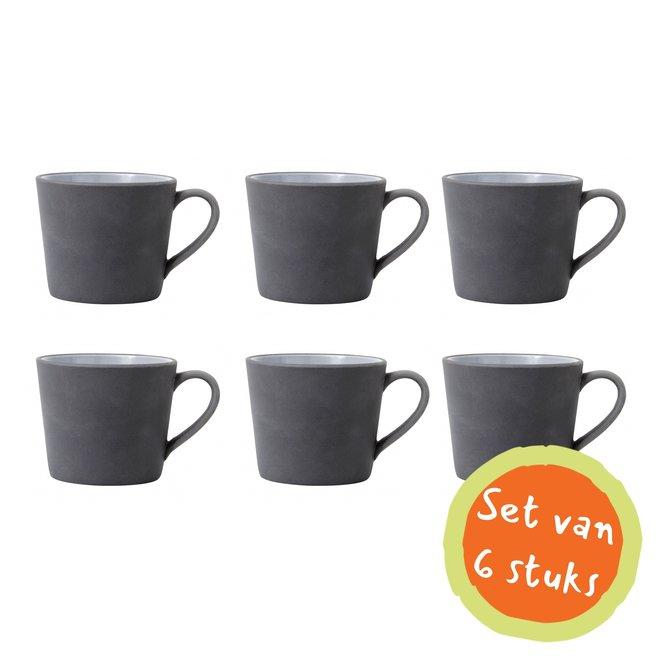Cappuccinomok aardewerk zwart/wit - set van 6