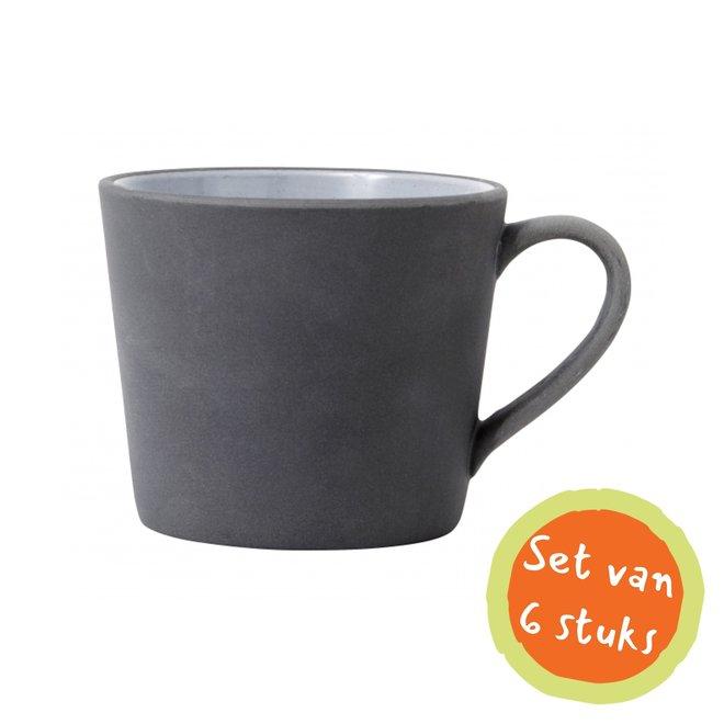 Nordal Cappuccinomok aardewerk zwart/wit - set van 6 - 5818