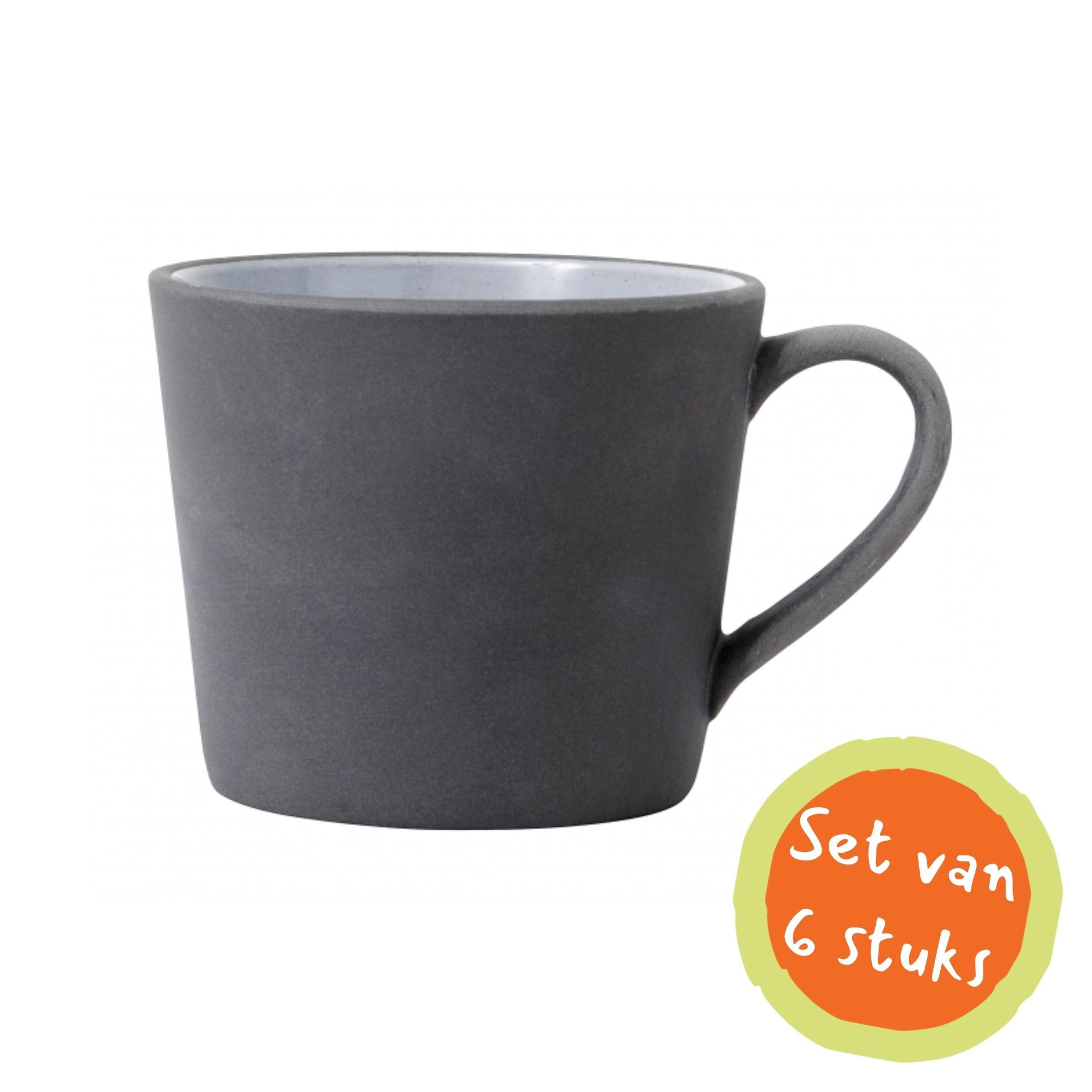 Nordal Cappuccinomok aardewerk zwart/wit - set van 6-5818-5708309140674