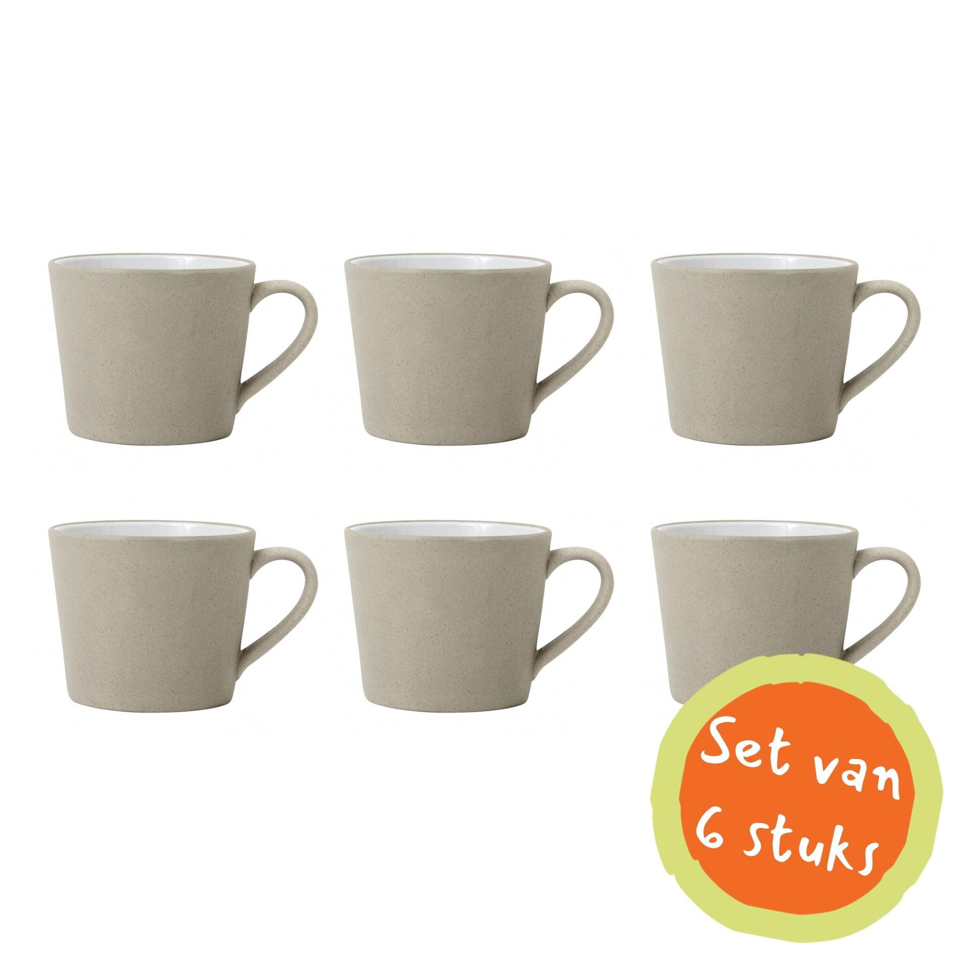 Nordal Cappuccinomok aardewerk grijs/wit - set van 6-5828-5708309140681