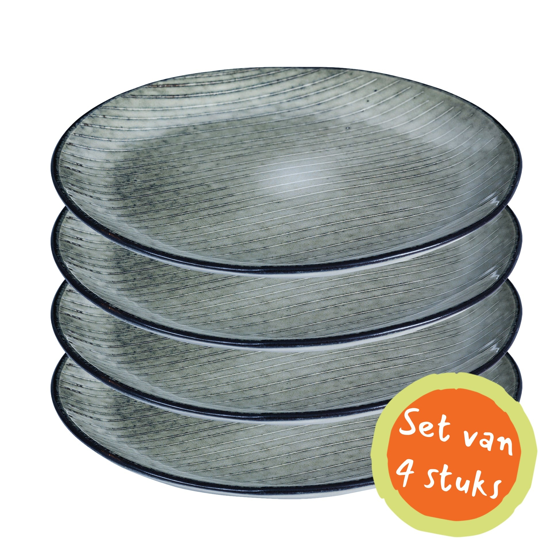 Broste Copenhagen Ontbijtbord/lunchbord Nordic Sea - ø20cm - set van 4-14441074-5709895363799