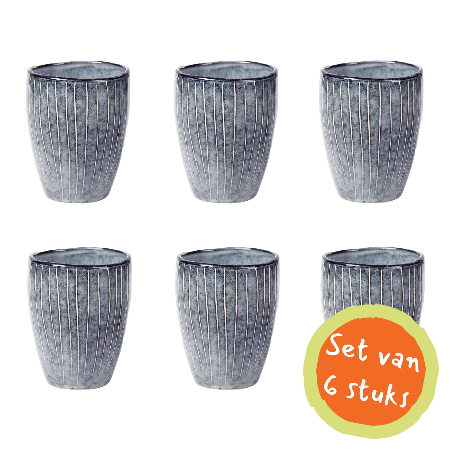 Broste Copenhagen beker/mok Nordic Sea - blauw/wit aardewerk - 250 ml - set van 6
