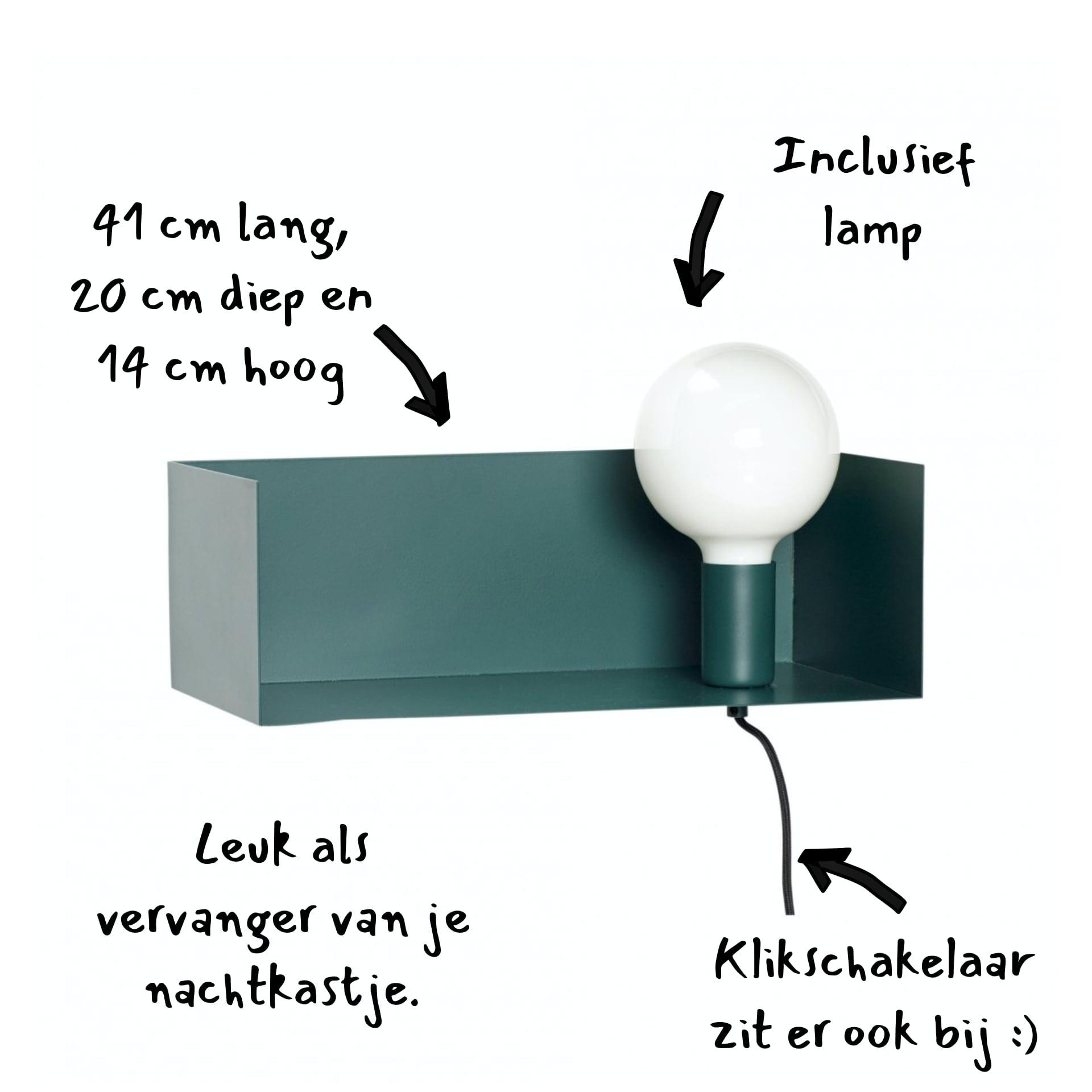 Hubsch wandplank met lamp - metaal - groen - 41 cm