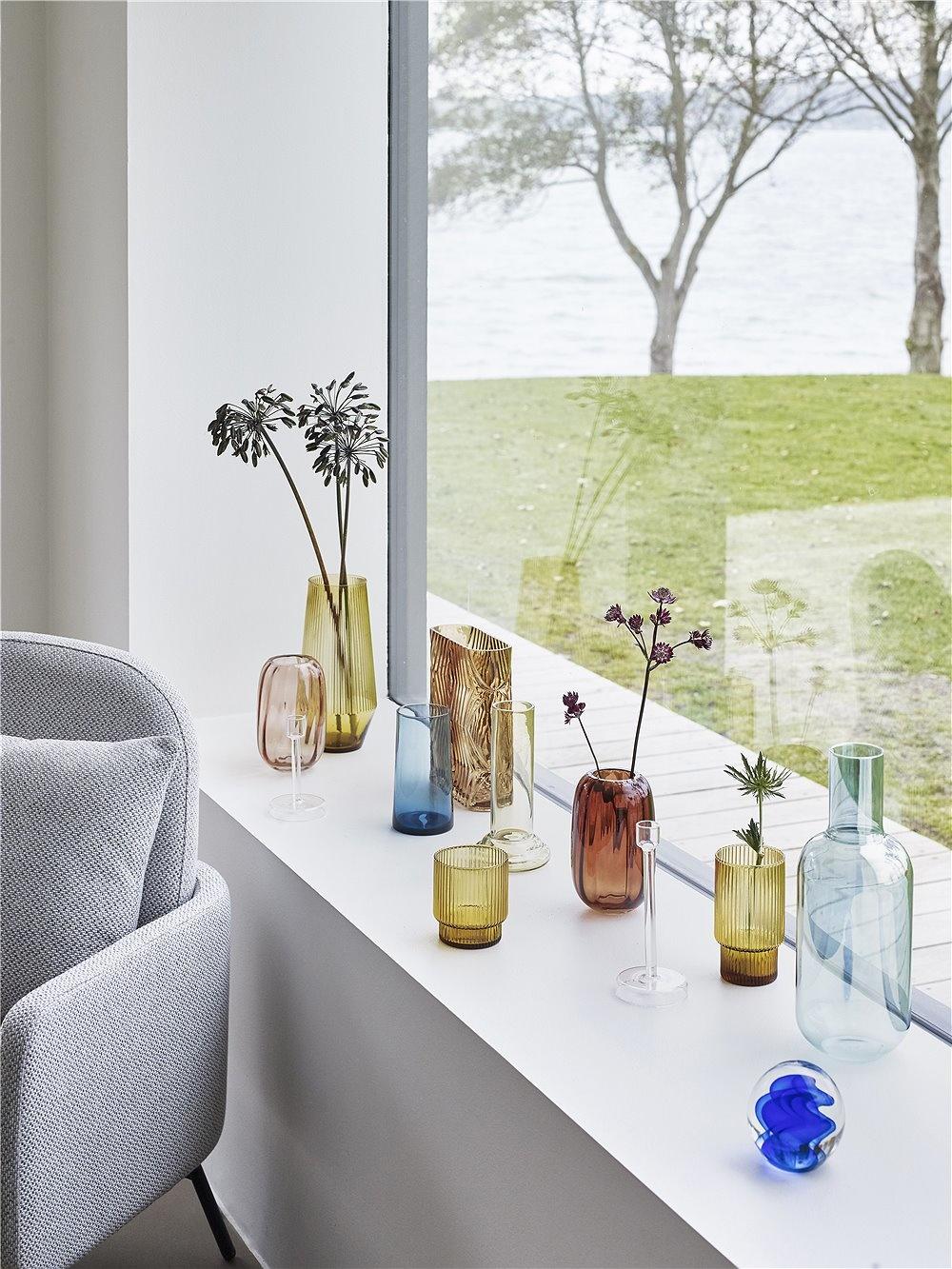 Hubsch Vaas blauw glas - ø7 x h16 cm-480308-5712772056592