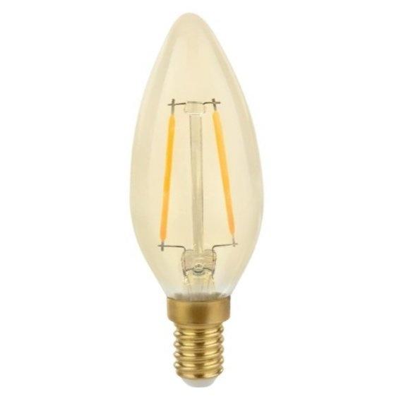 LED filament lamp - E14 fitting C35 - 2W vervangt 25W - 2500K extra warm wit licht