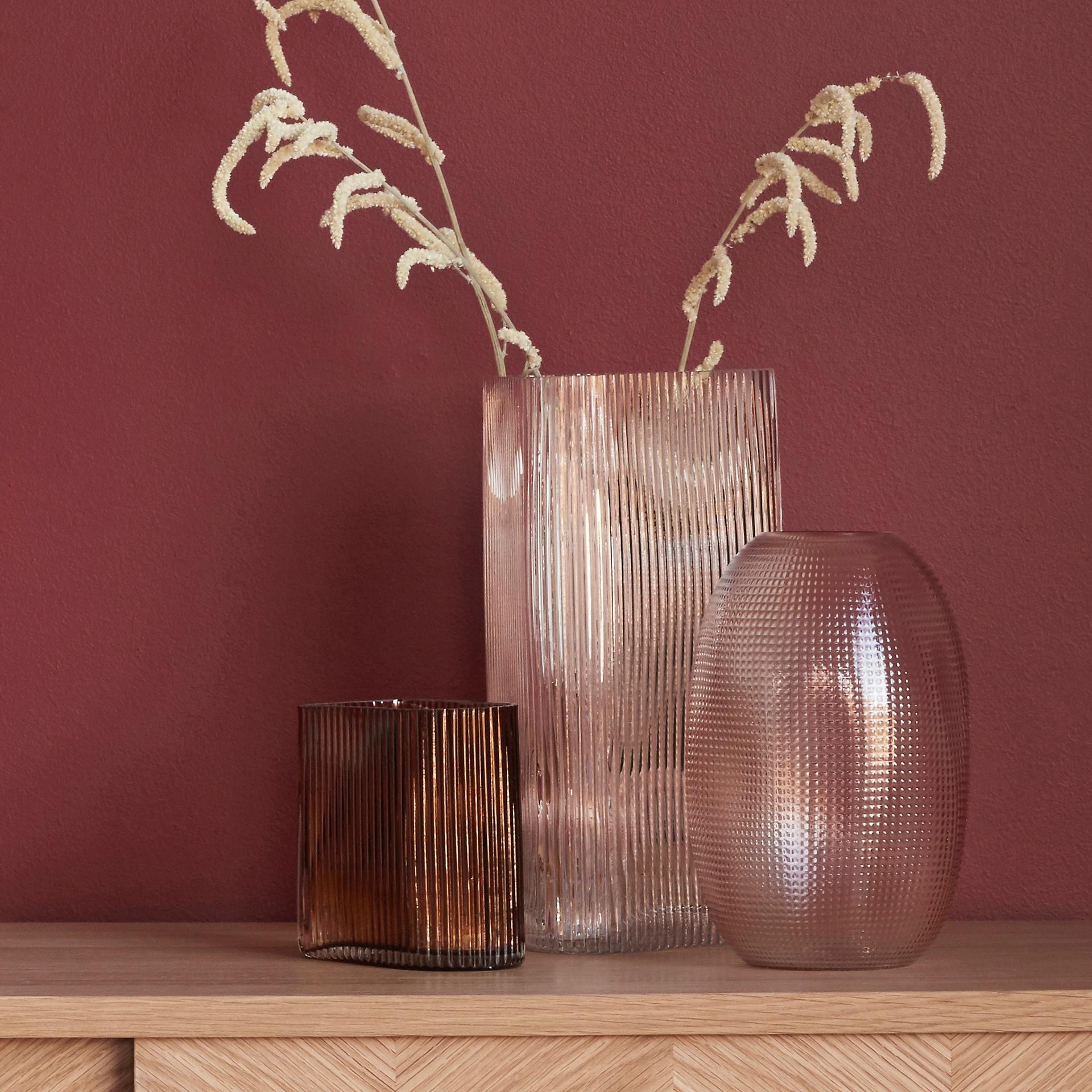 Hubsch Vaas, glas, roze-180902-5712772061480