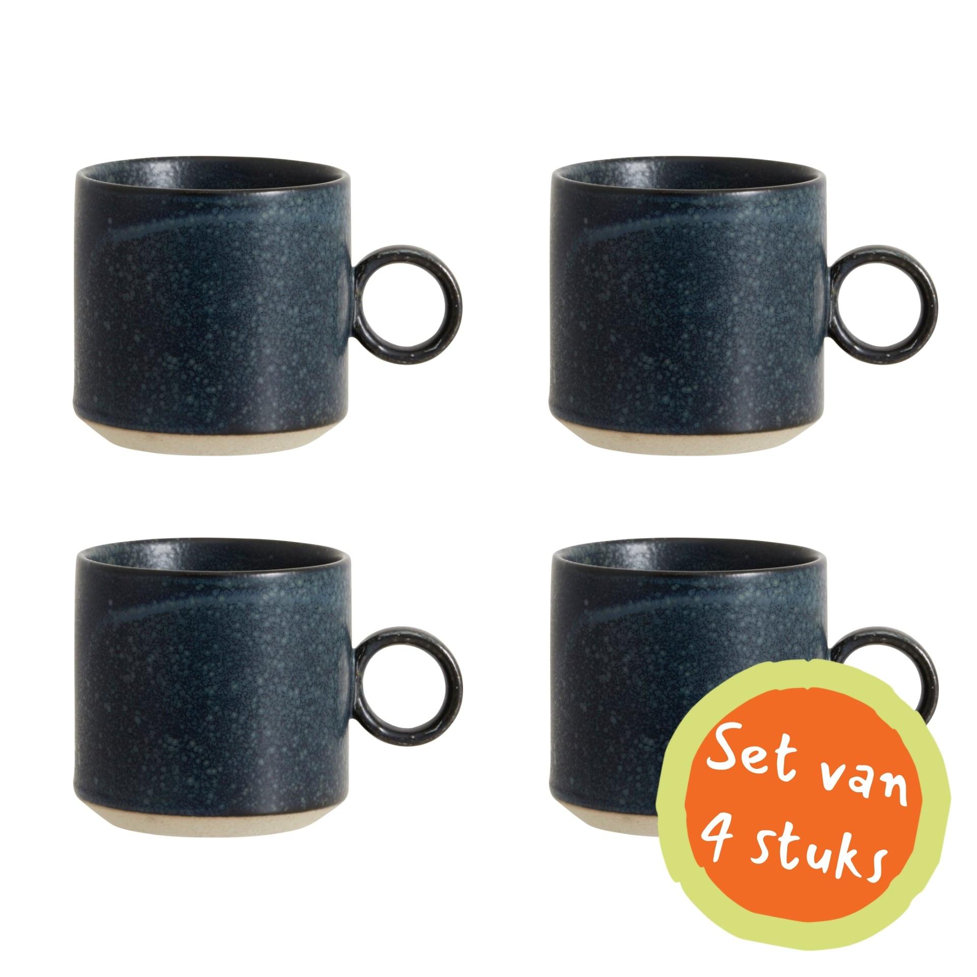 Nordal Grainy beker met handvat - donkerblauw - set van 4-57000-5708309157320