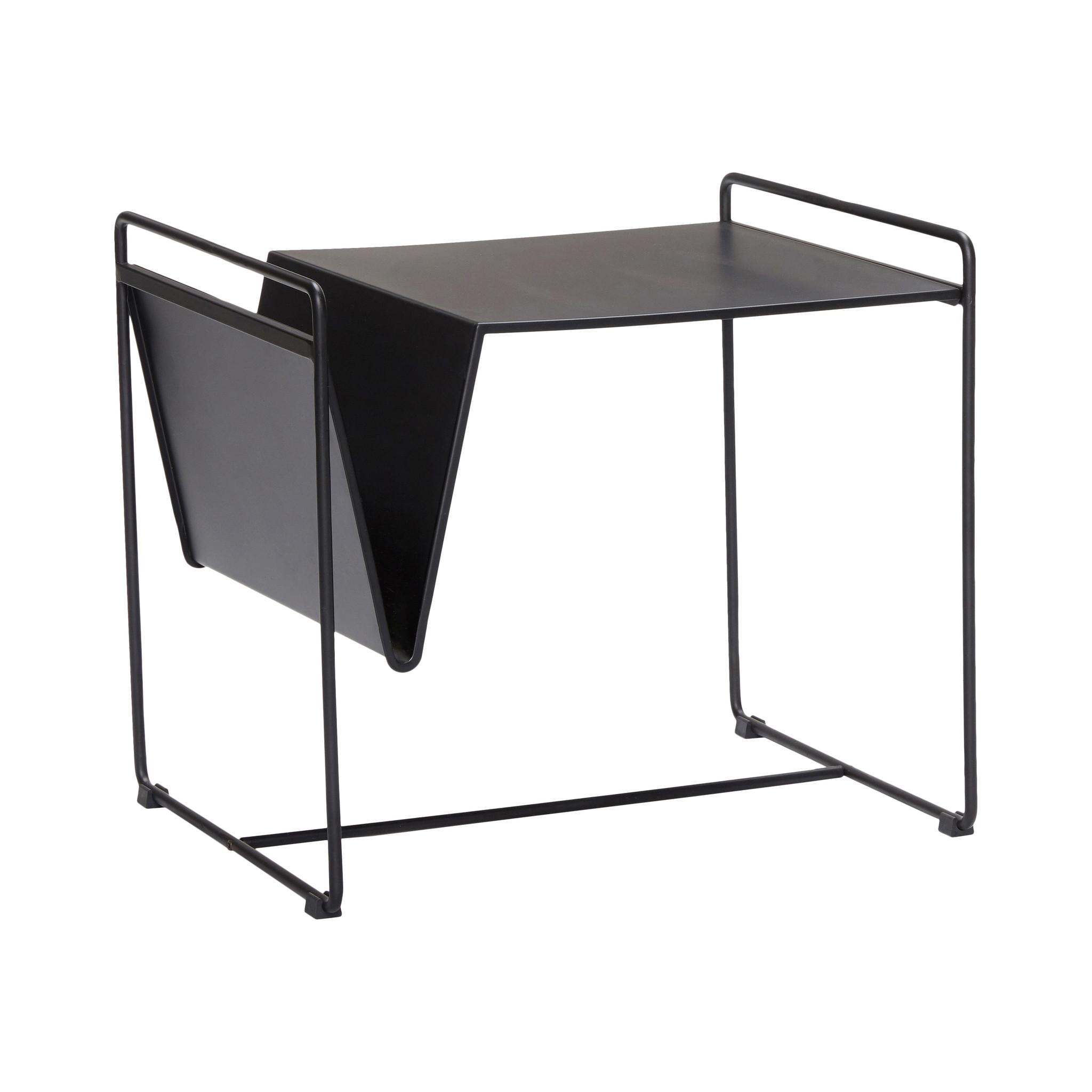 Hubsch Tafel met tijdschriftenhouder, zwart, metaal