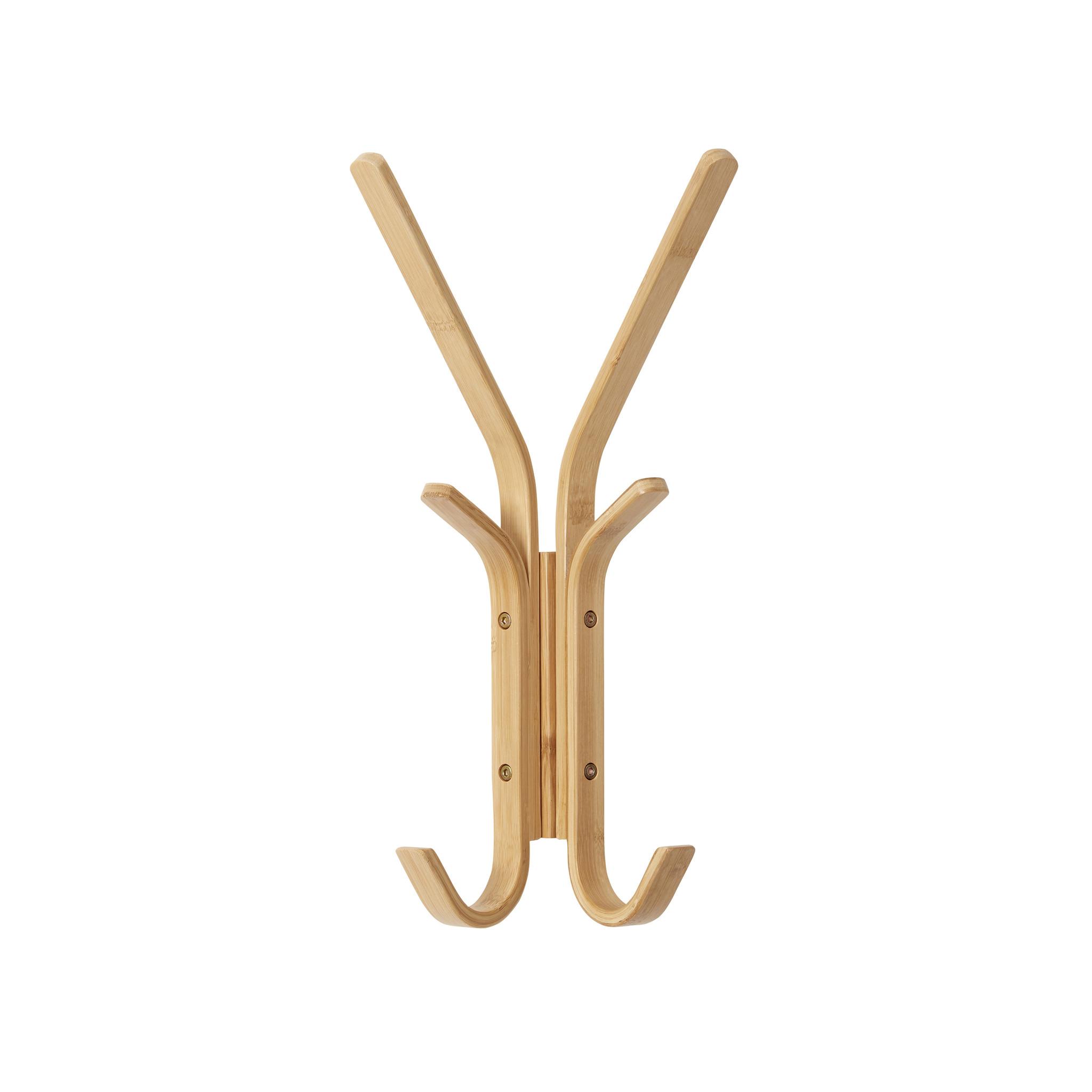 Hubsch Wandkapstok bamboe dubbel - 6 haken-241201-5712772101803