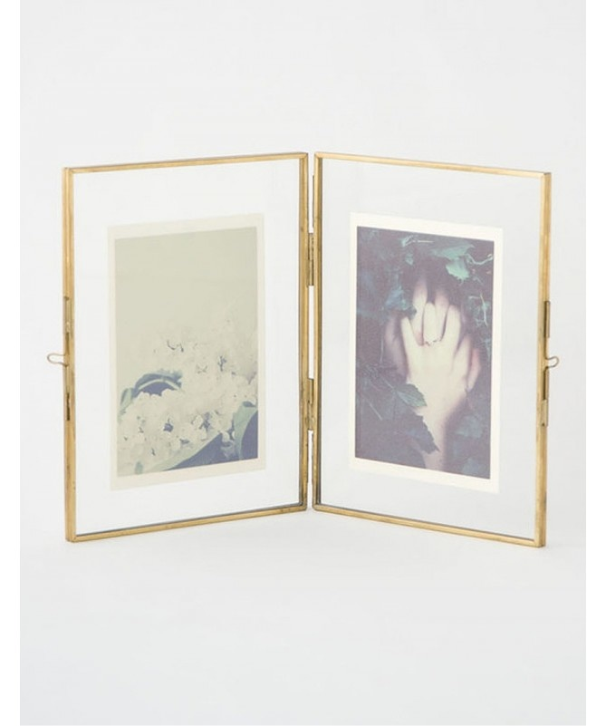 Hubsch fotolijst staand dubbel - goud messing/metaal en glas - 21 x 15 cm-150204-5712772051115