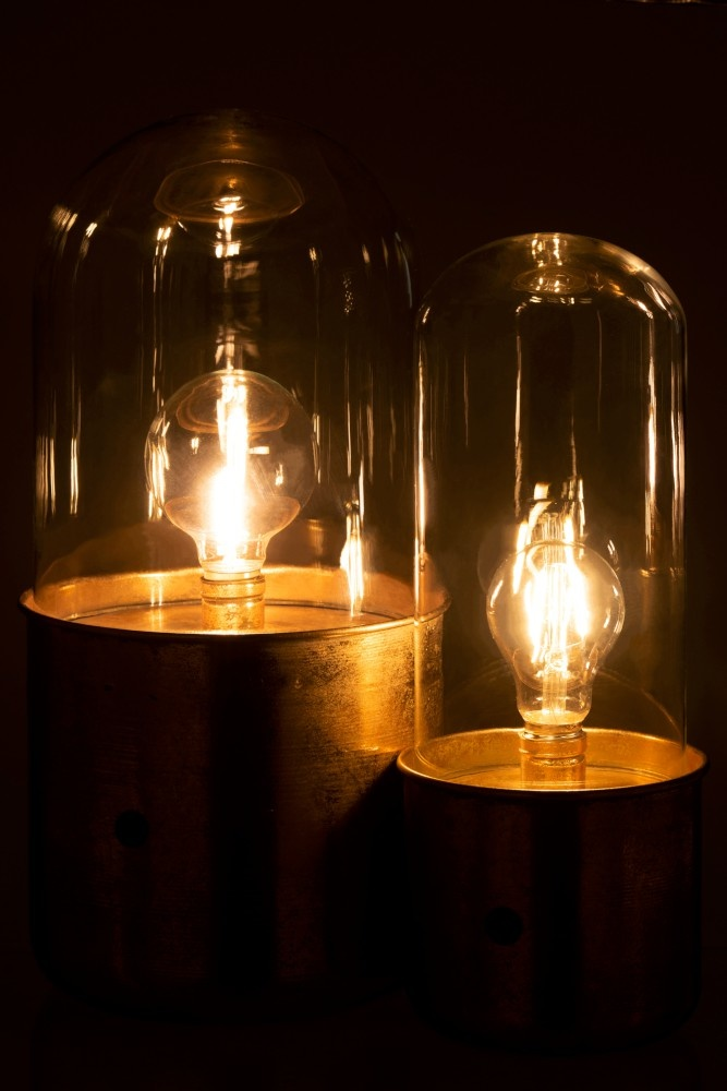 J-line Tafellamp Antiek Led Glas - Zink Goud - Groot-7810-5400924078096
