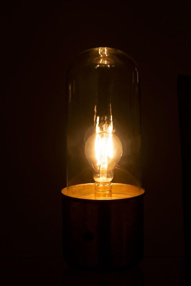 J-line Tafellamp Antiek Led Glas - Zink Goud - Klein