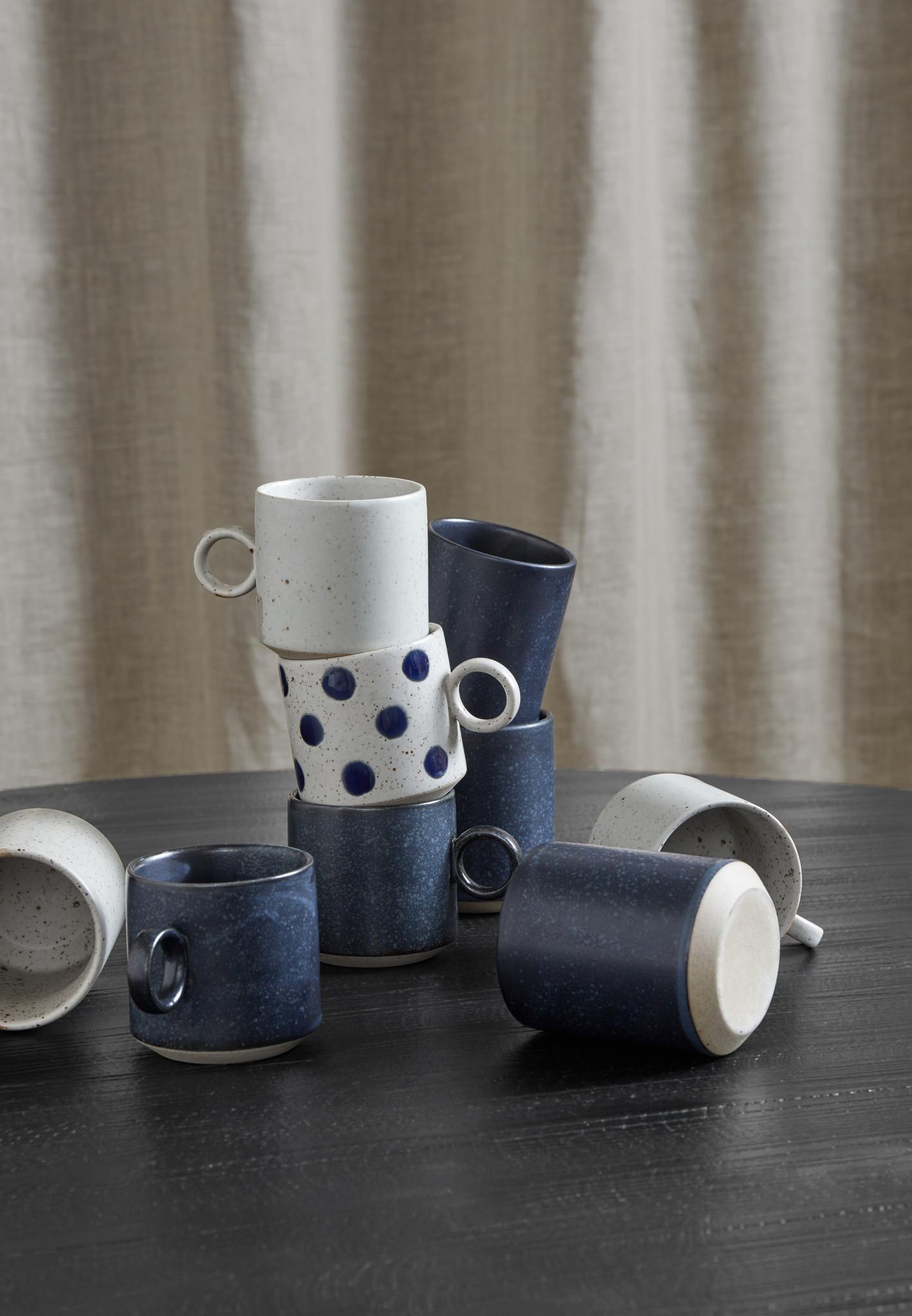 Nordal Grainy beker - donkerblauw - set van 4-57016-5708309158723