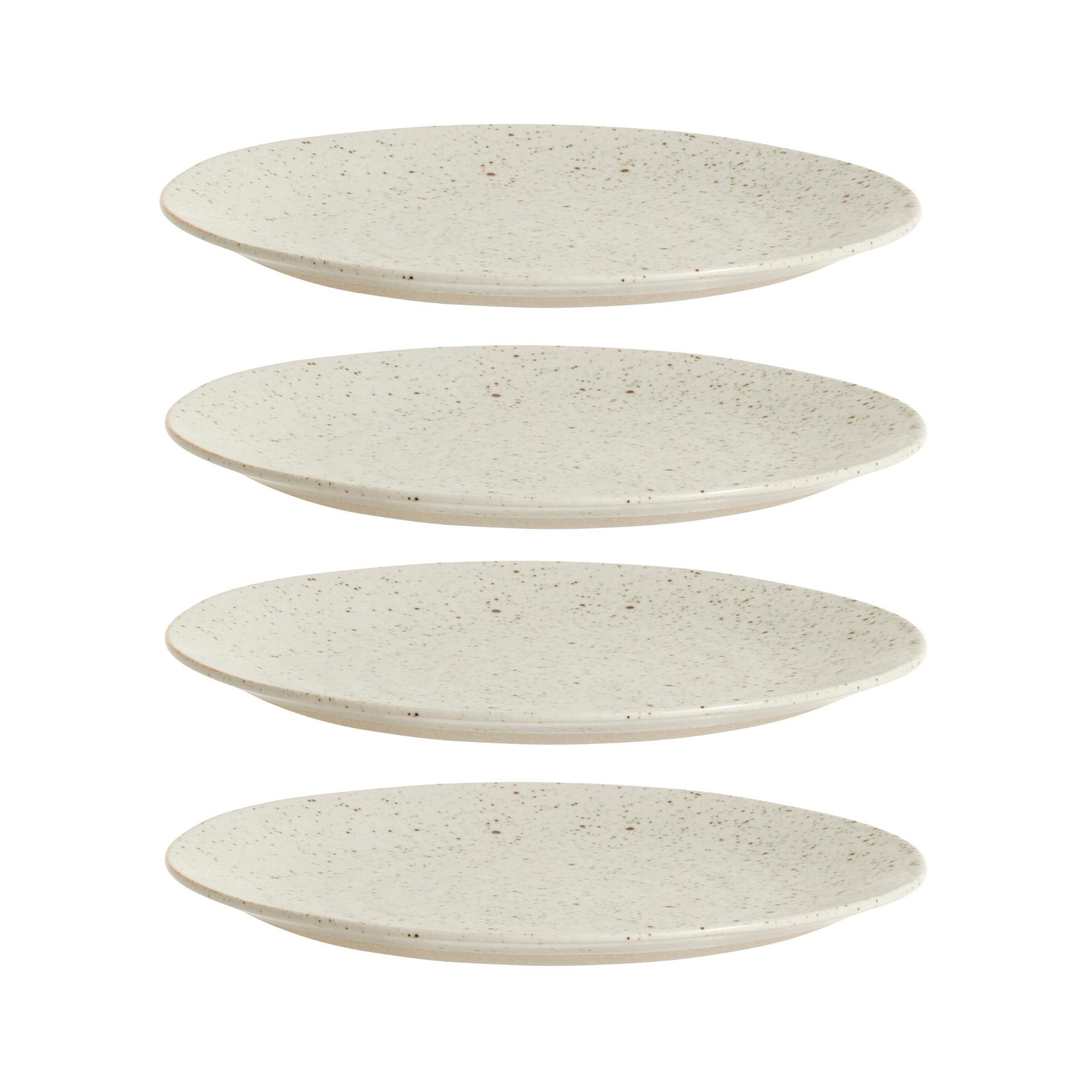 Nordal Grainy bord ø 21 cm - zandkleurig - set van 4- 57007-5708309157399