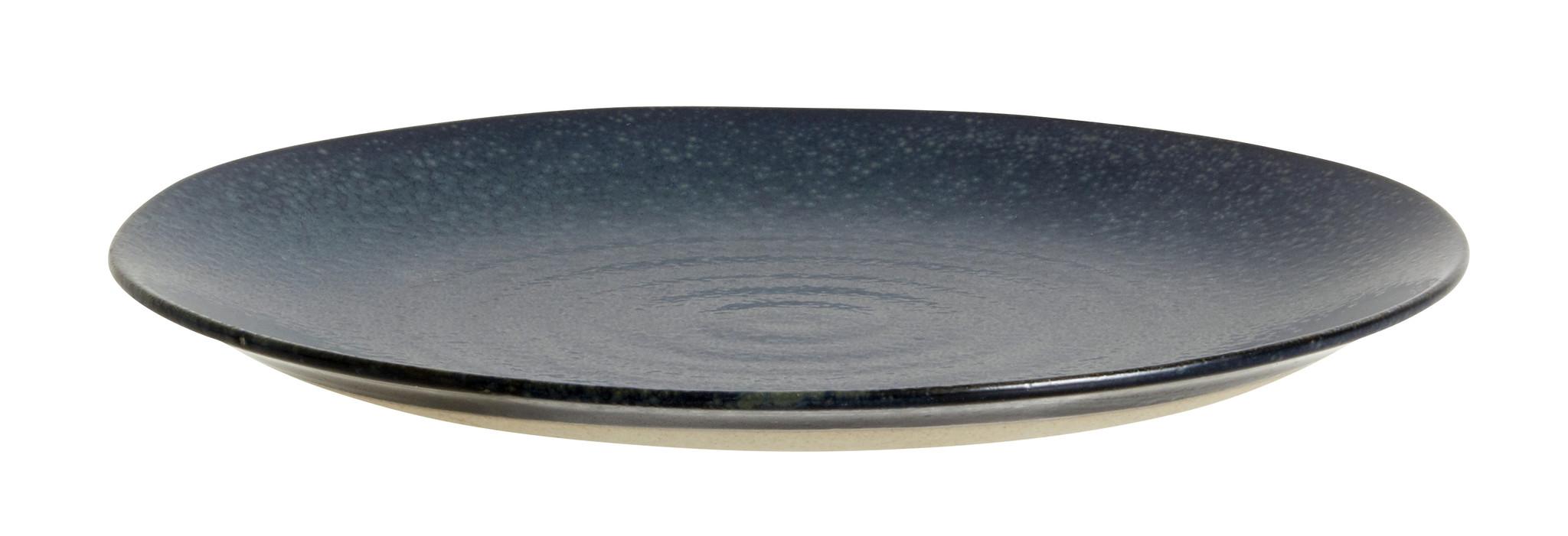 Nordal Grainy bord ø 21 cm - donkerblauw - set van 4