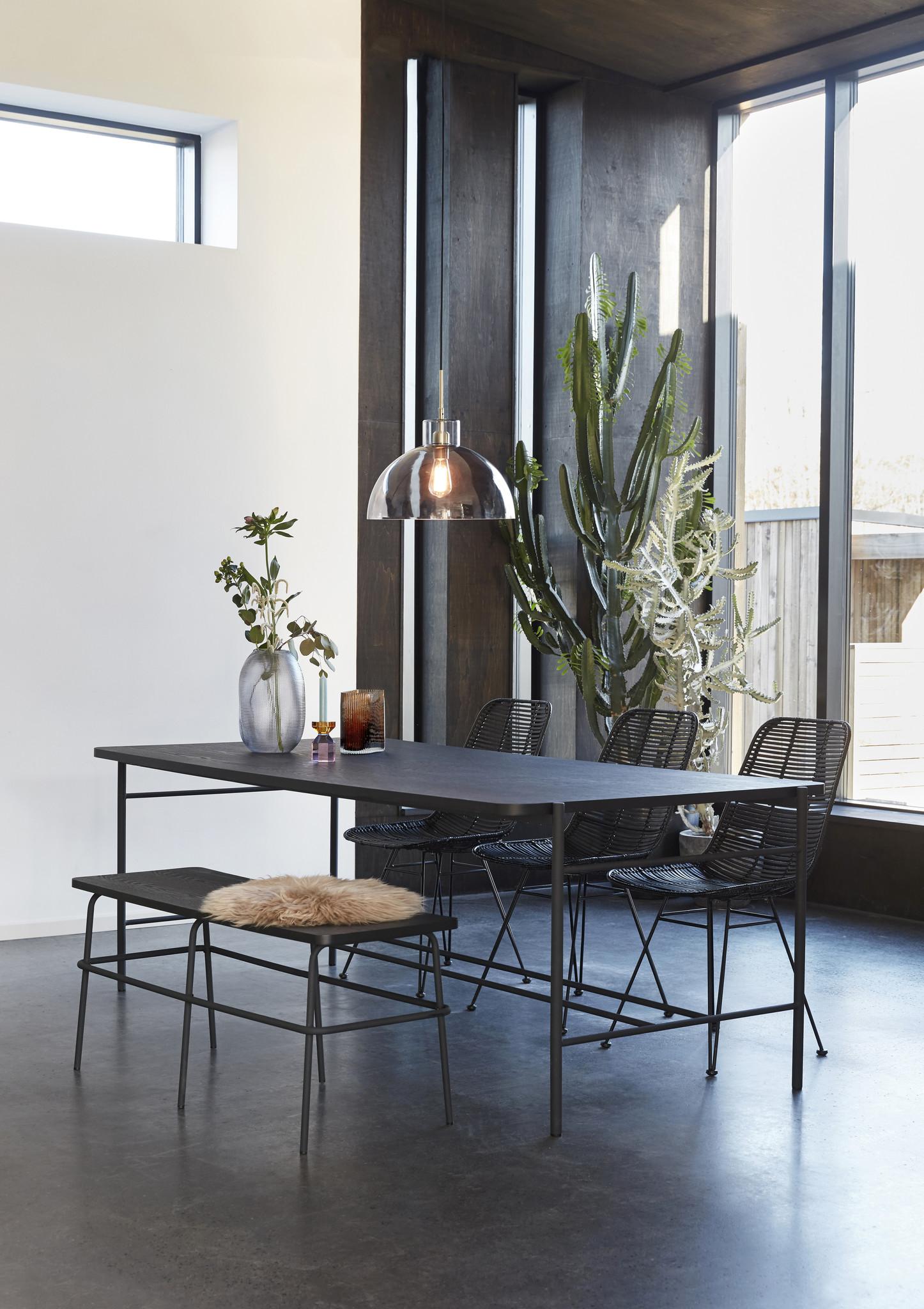 Hubsch Eettafel, metaal / hout, zwart