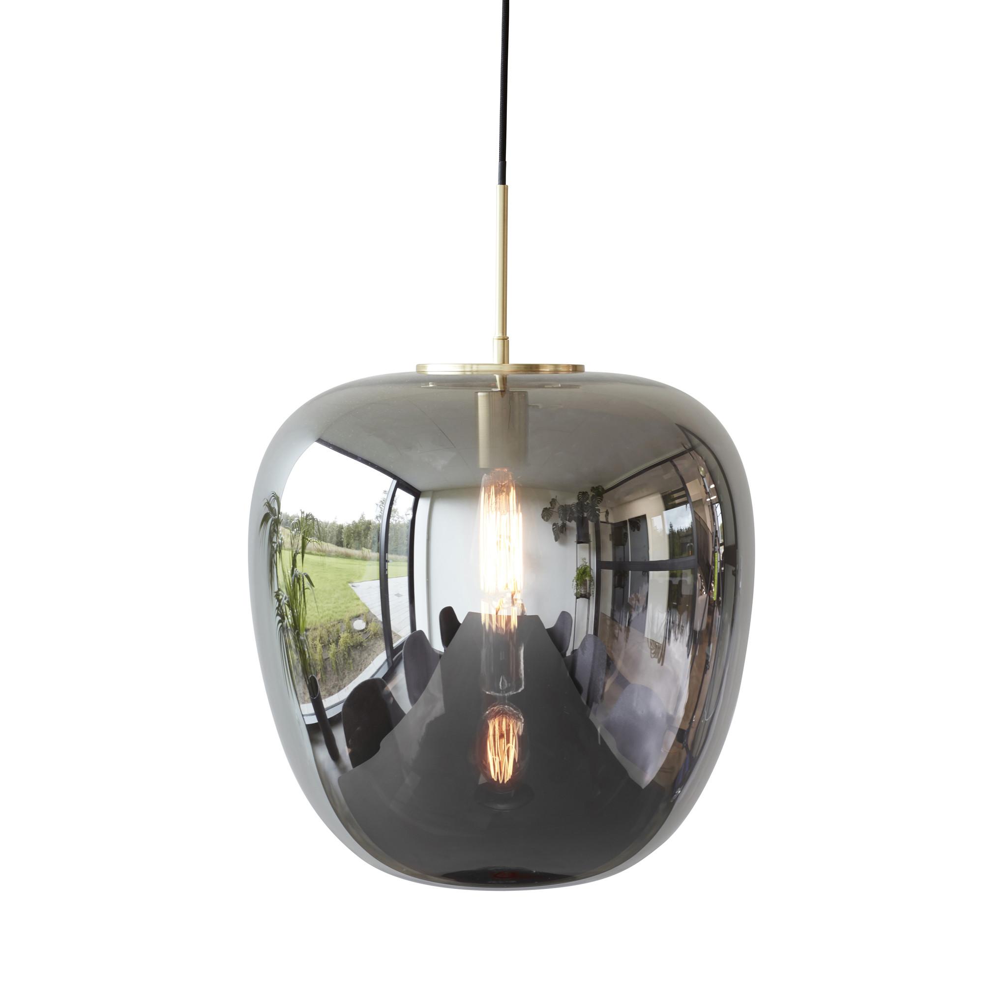 Hubsch Hanglamp glas spiegel/messing-990602-5712772063743