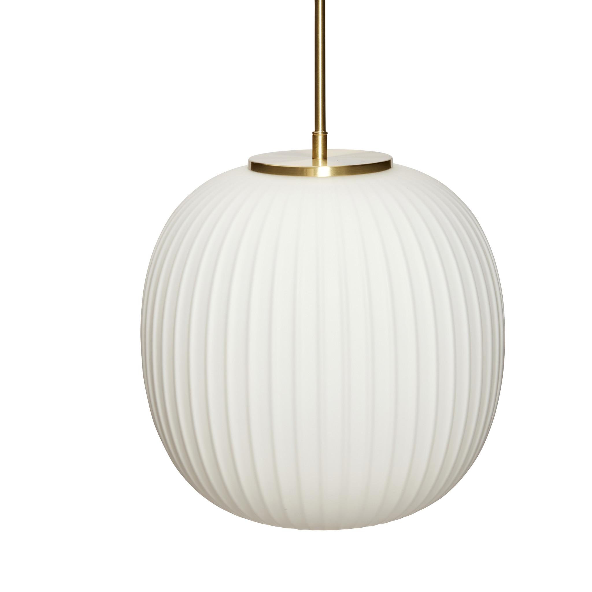 Hubsch Hanglamp glas wit/messing ø32 cm-991320-5712772113110