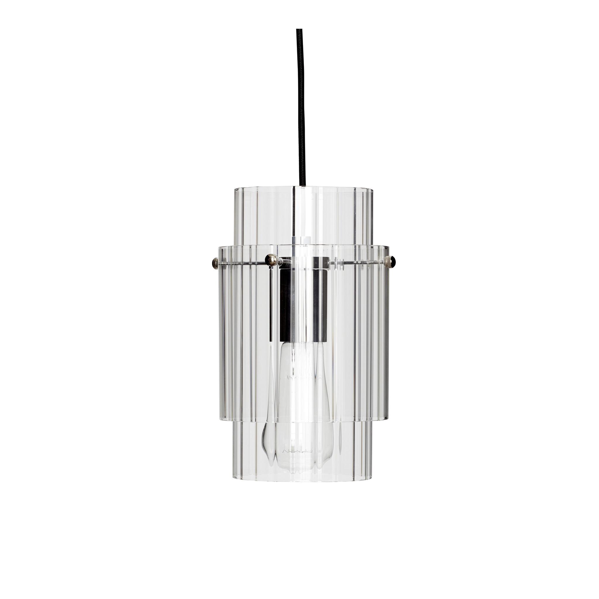 Hubsch Hanglamp helder glas/metaal/nikkel