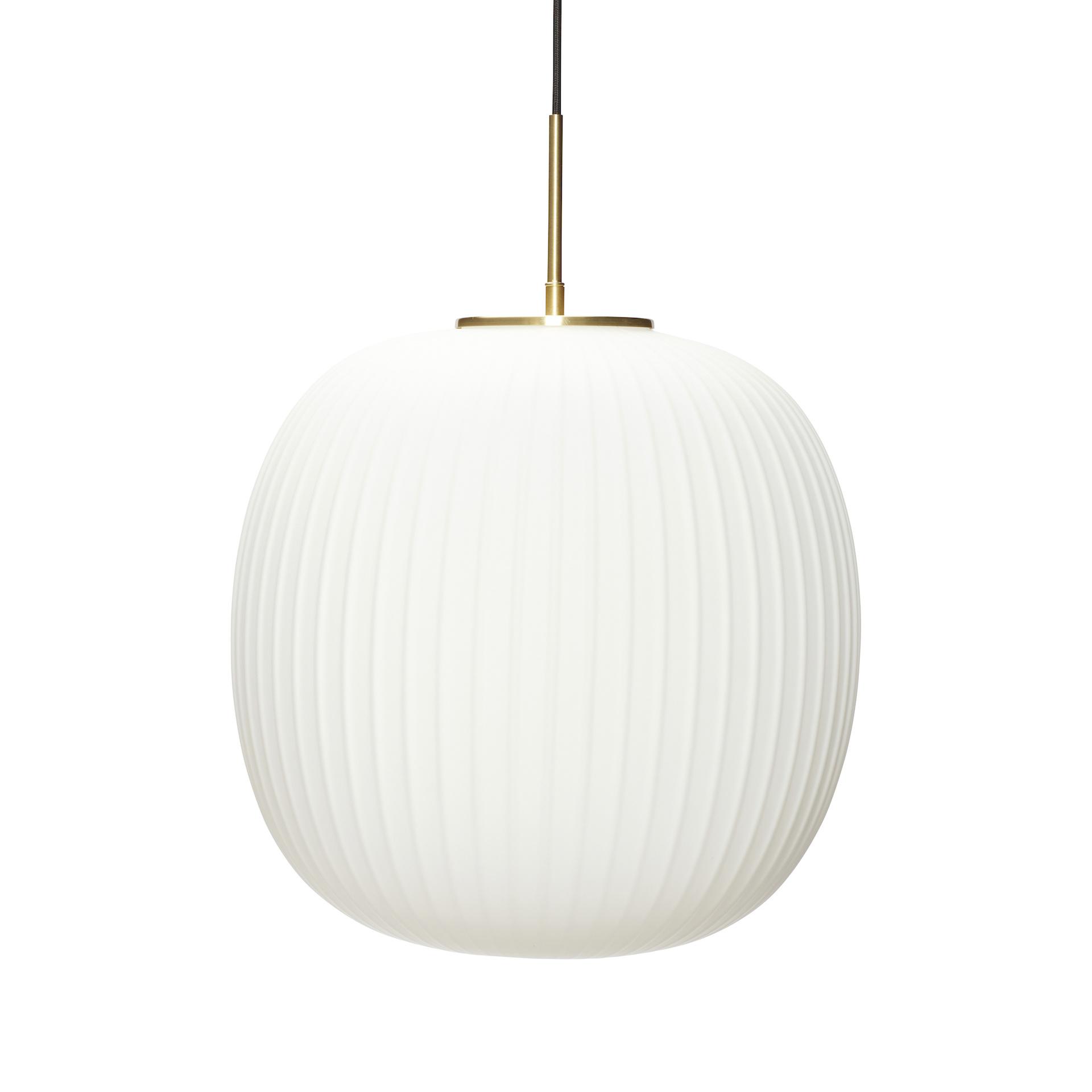 Hubsch Hanglamp glas wit/messing ø 42 cm-991321-5712772113110