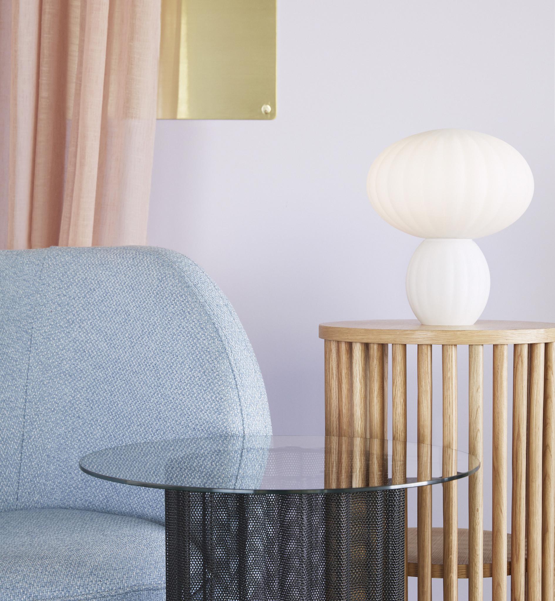 Hubsch Tafellamp glas/wit-991107-5712772072554