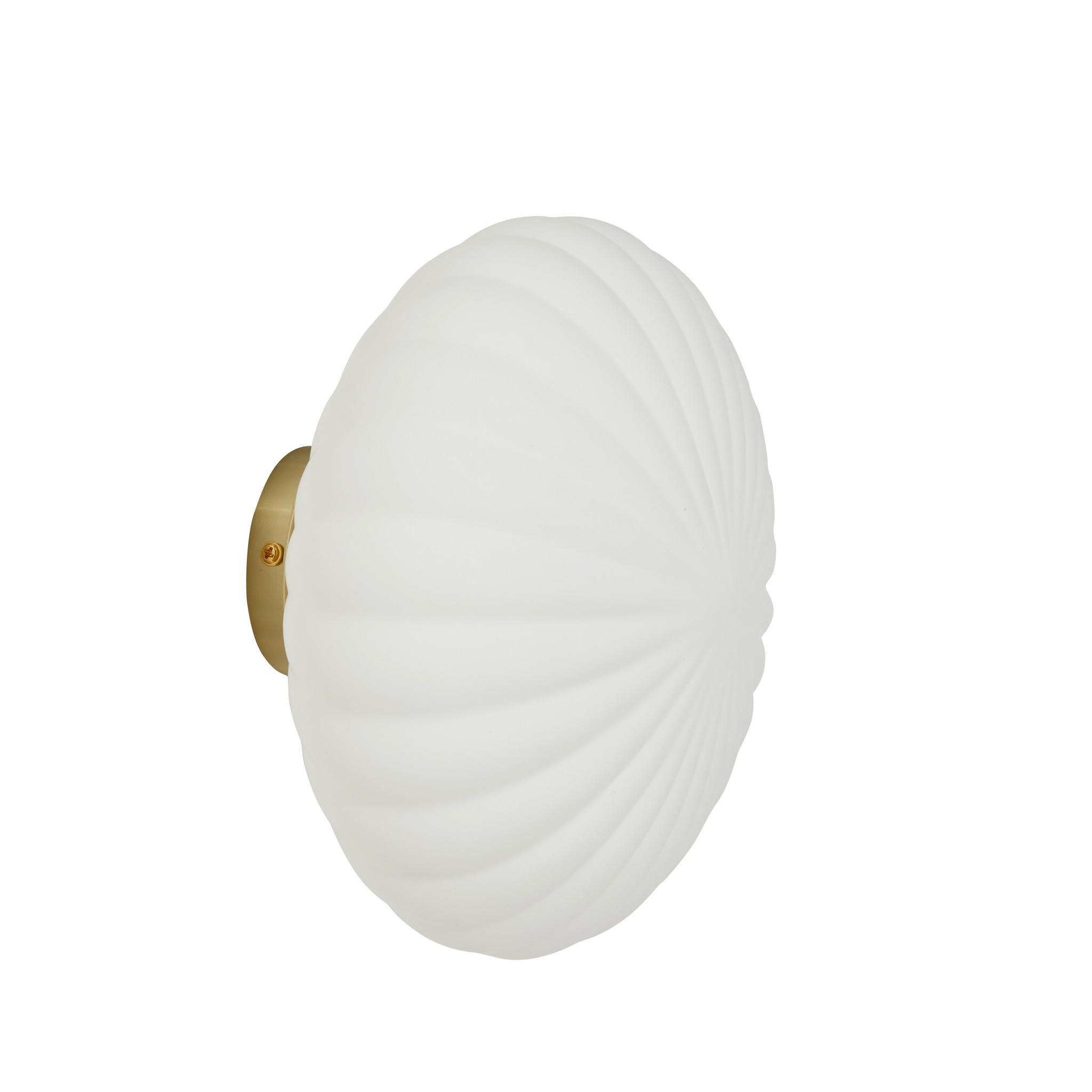 Hubsch Wandlamp metaal/glas, messing/opaal ø25cm-991312-5712772112847