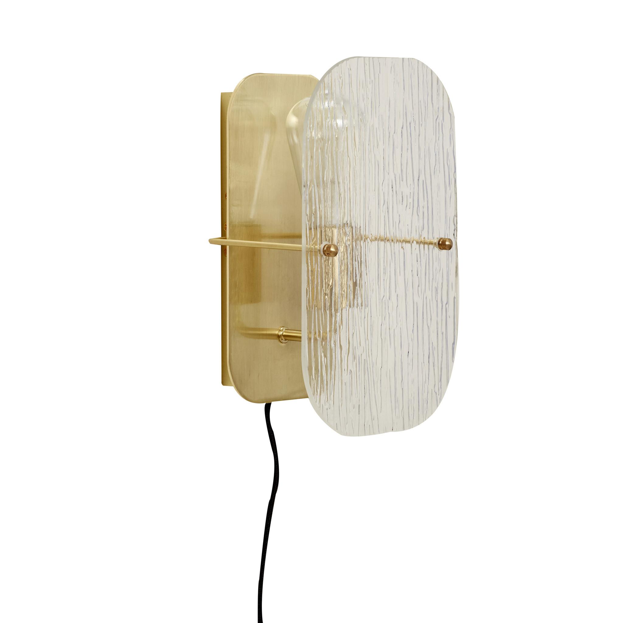 Hubsch Wandlamp metaal/glas, goud-991115-5712772072639