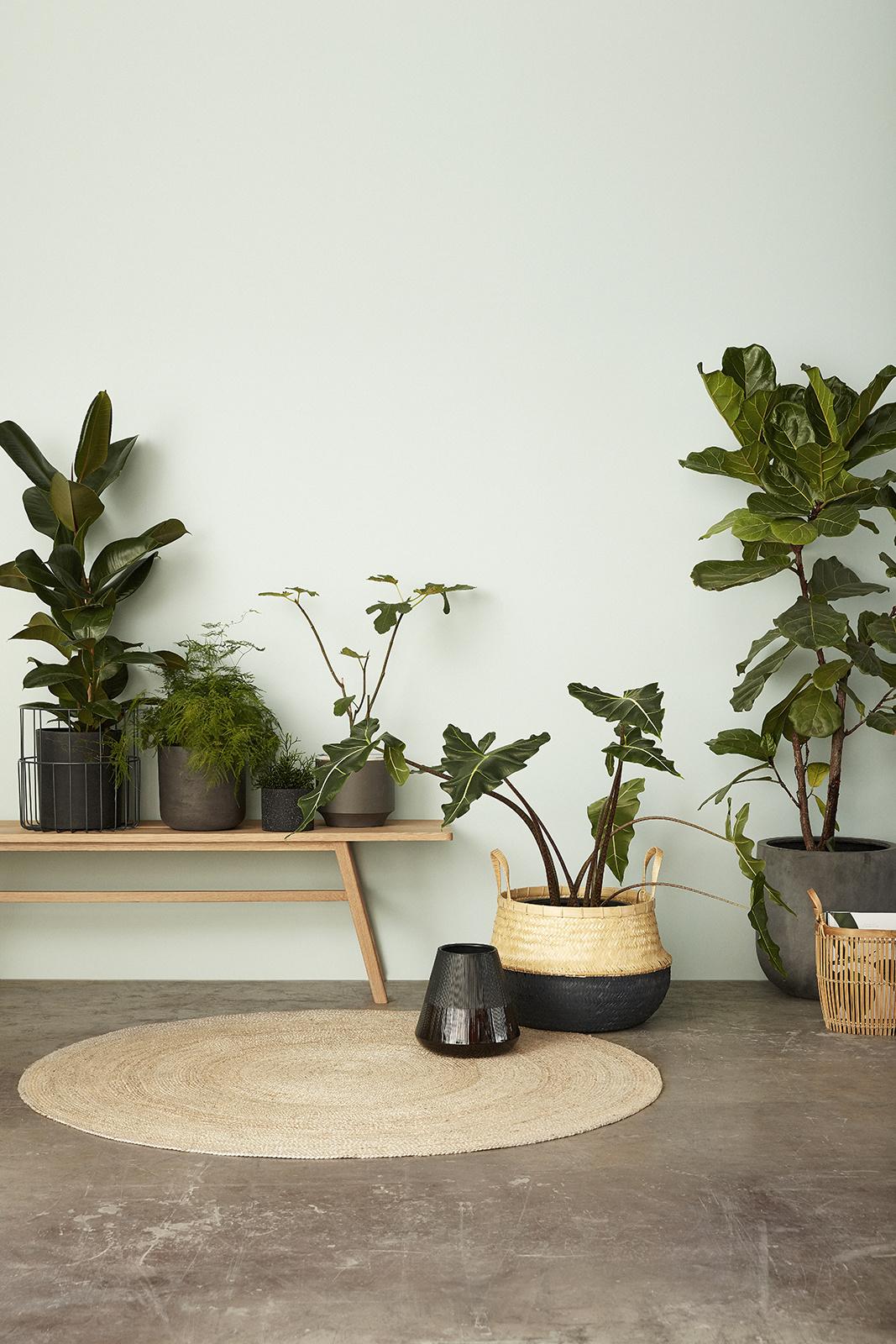 Hubsch Mand met grijze bodem, bamboe, grijset van natuur, set van 2