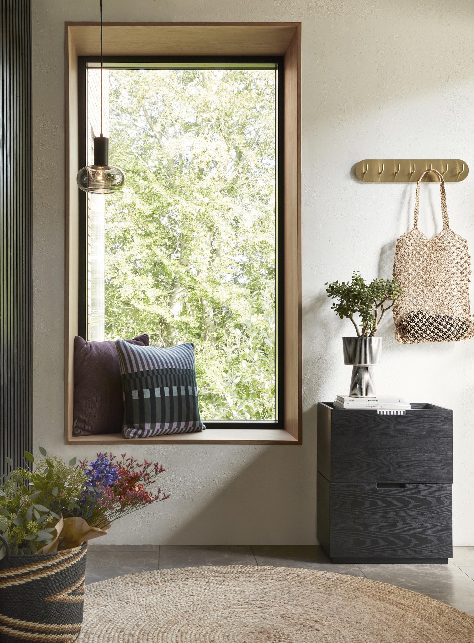 Hubsch Bloempot, keramiek, beige/zwart, set van 2
