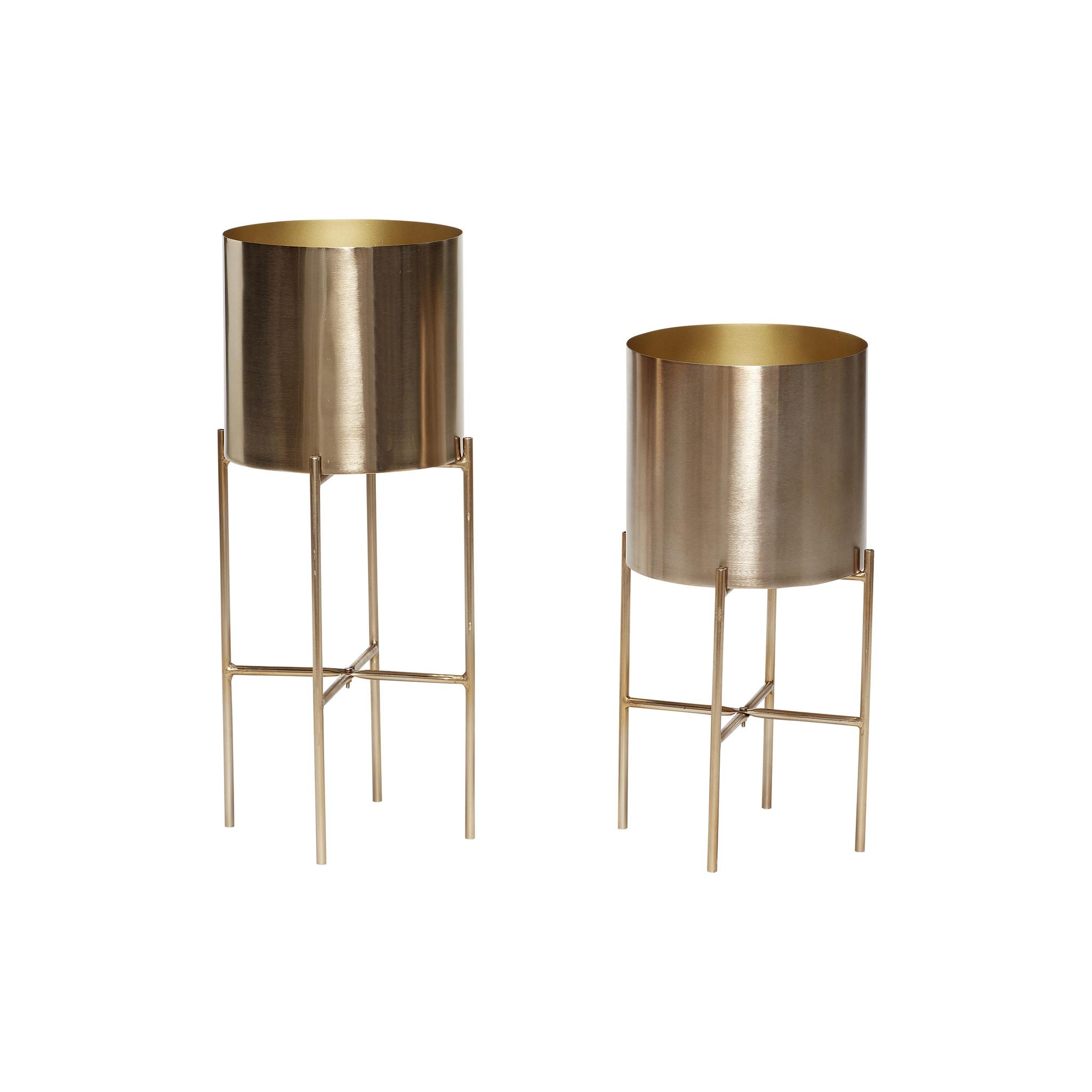 Hubsch Pot met standaard, metaal, messing, set van 2