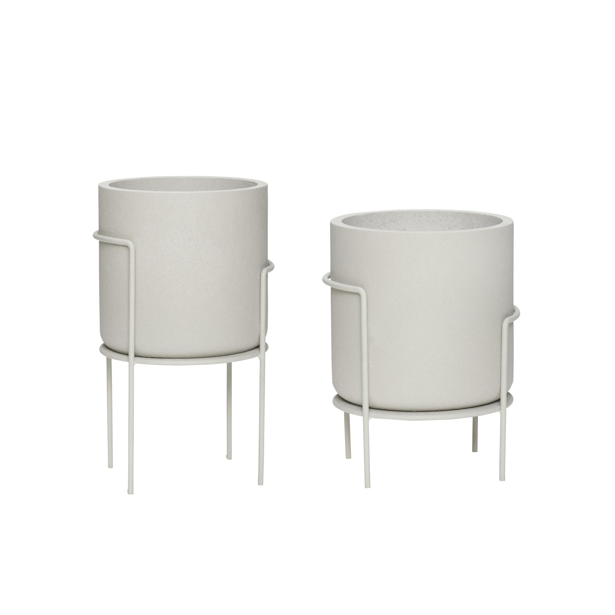Hubsch Pot op standaard, metaal/gips, grijs, set van 2-990903-5712772071083