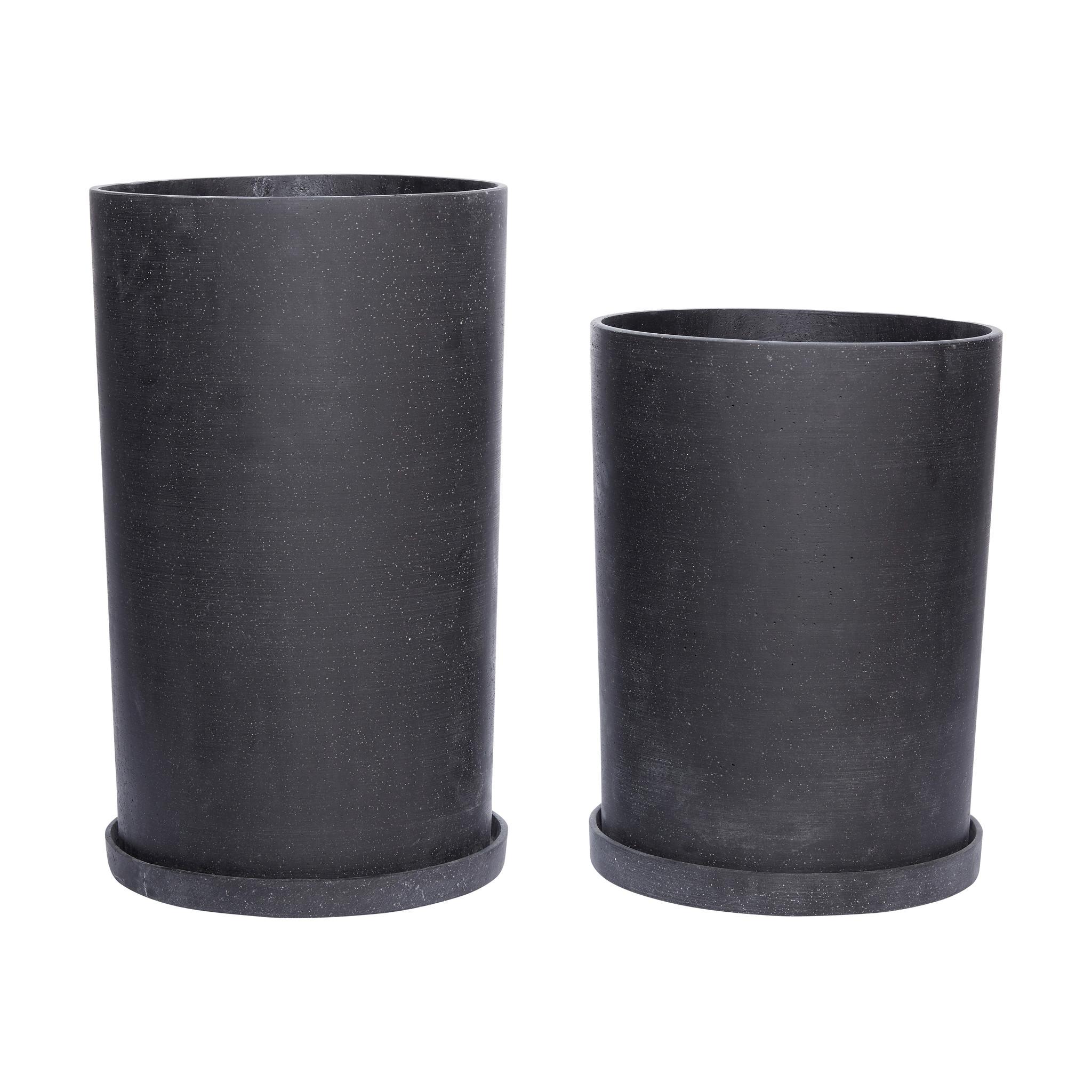 Hubsch Pot met schotel, zwart, hoog, set van 2-900308-5712772056325