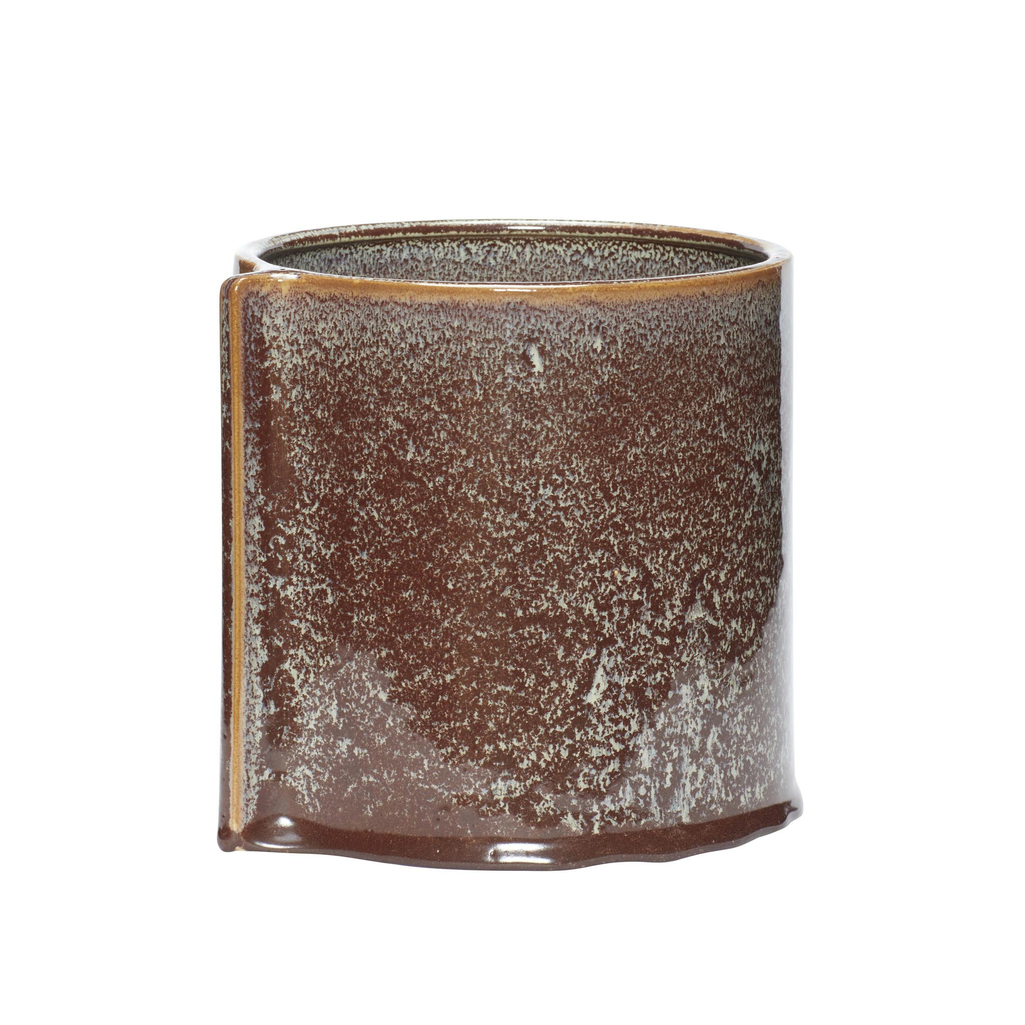 Hubsch Bloempot, keramiek, bruin, set van 2