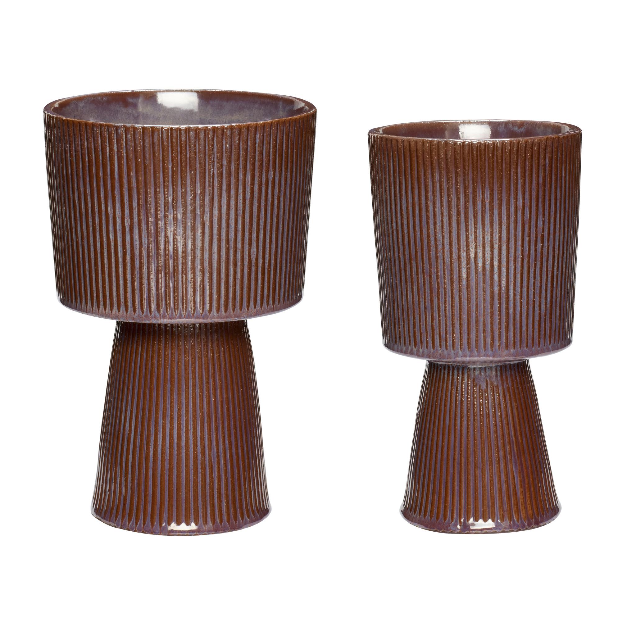 Hubsch Bloempot, keramiek, paars/bruin, set van 2-671102-5712772072776