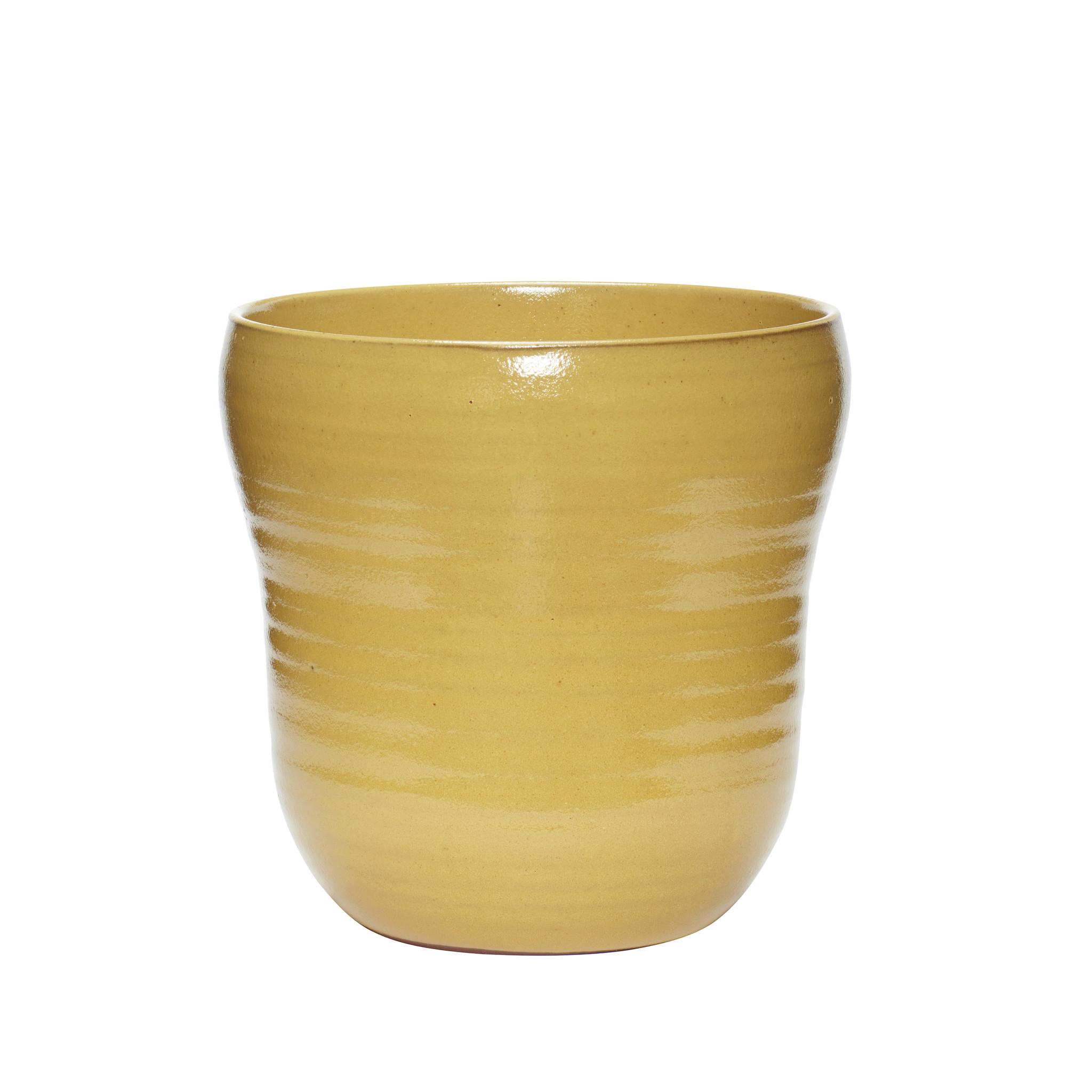 Hubsch Bloempot, keramiek, geel, set van 2-671304-