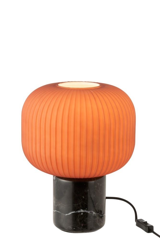 J-line Tafellamp Yufo Glas/Marmer Mat Rood/Zwart