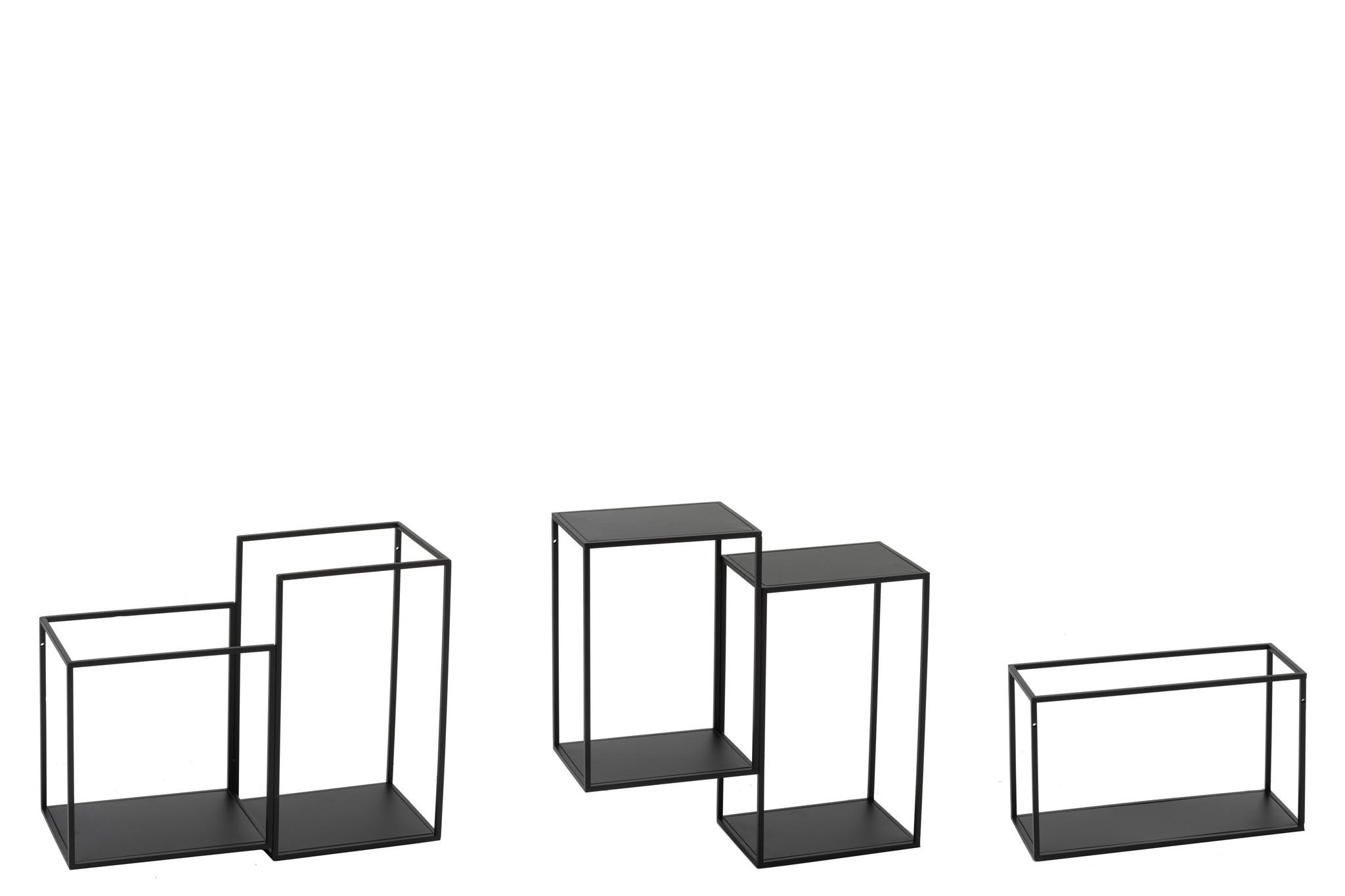 J-line wandrek industrieel modulair zwart metaal - 3 delen-96980-5415203969804