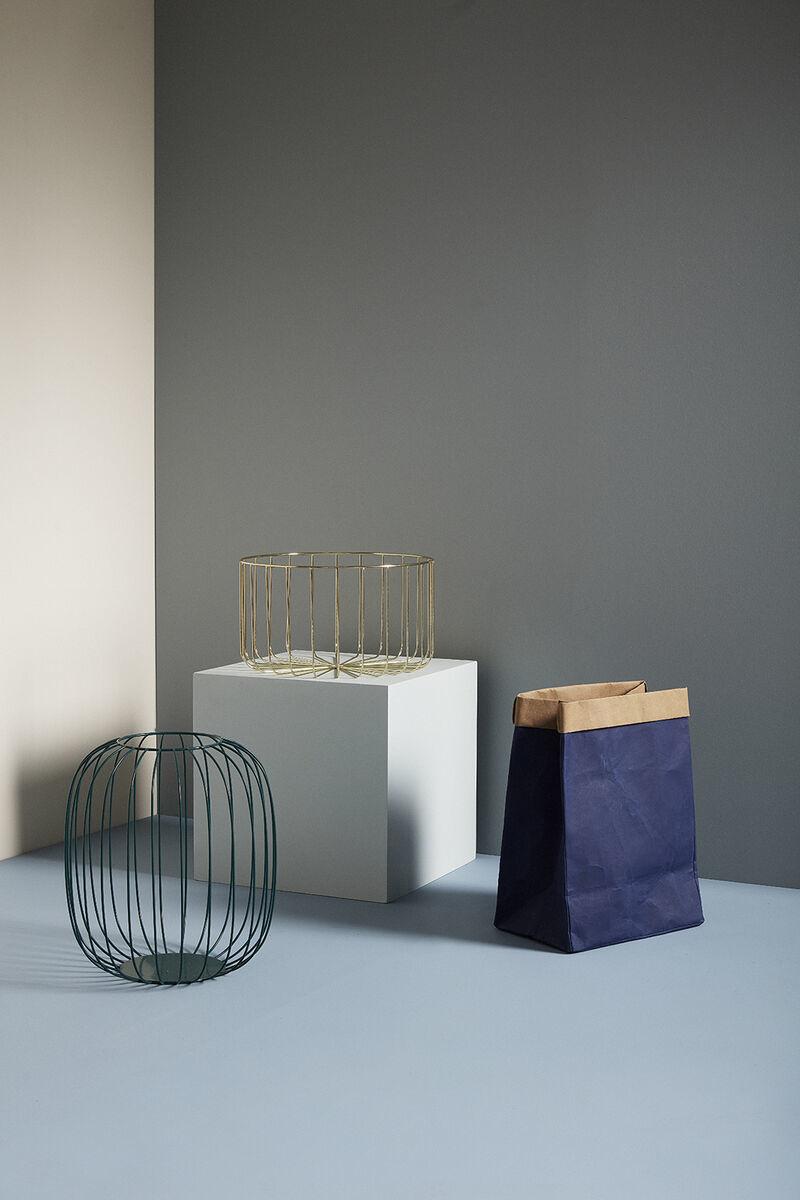 Hubsch Wasmand, vierkant, wasbaar papier, blauw / beige, set van 2