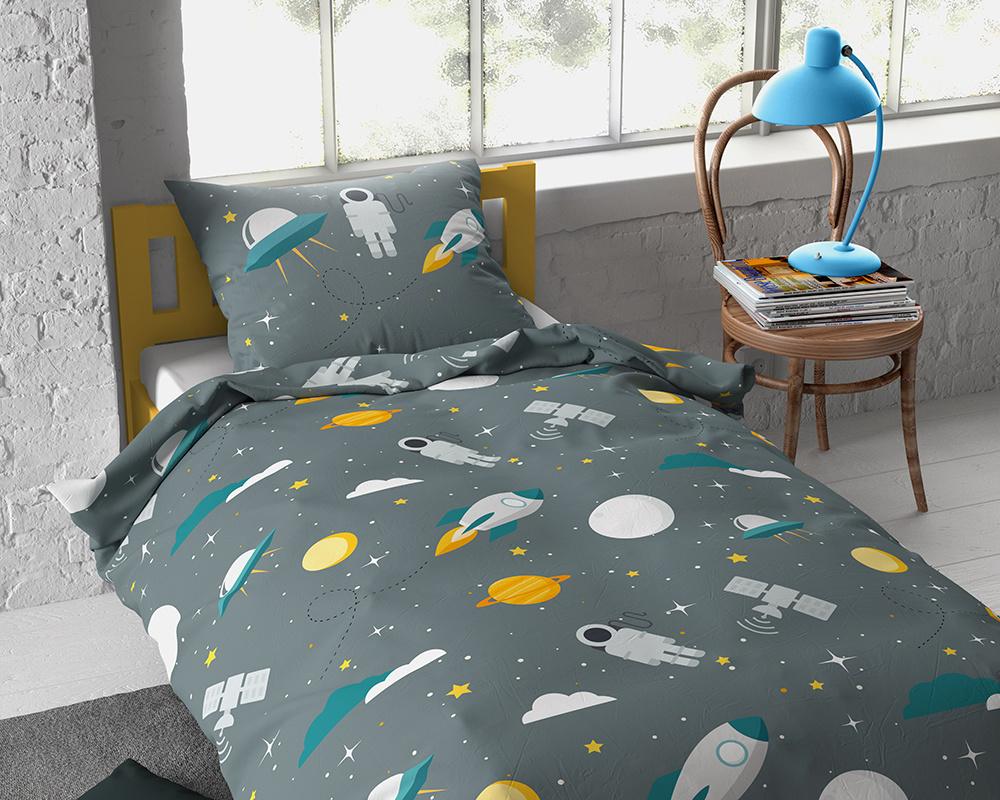 Dreamhouse Dekbedovertrek Moon and Space Green - 140 x 200 cm-8719242058770-8719242058770