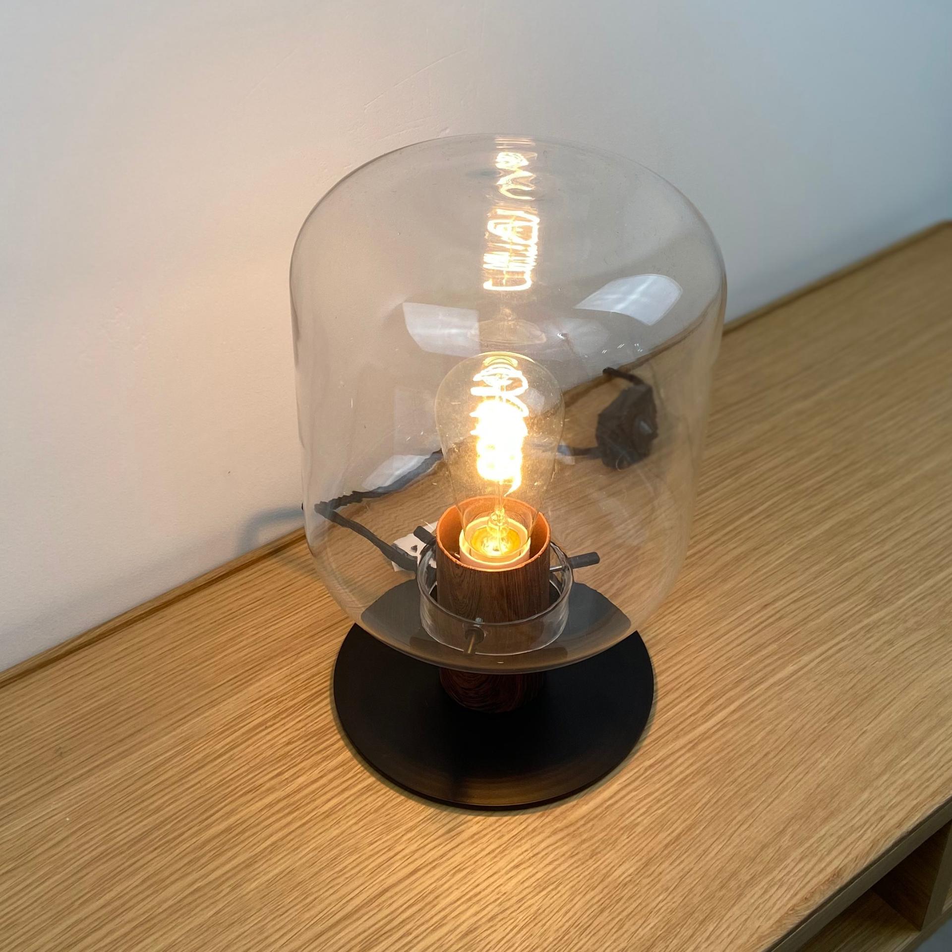J-line Tafellamp Kiyu - Glas en staal - ø20x30 cm