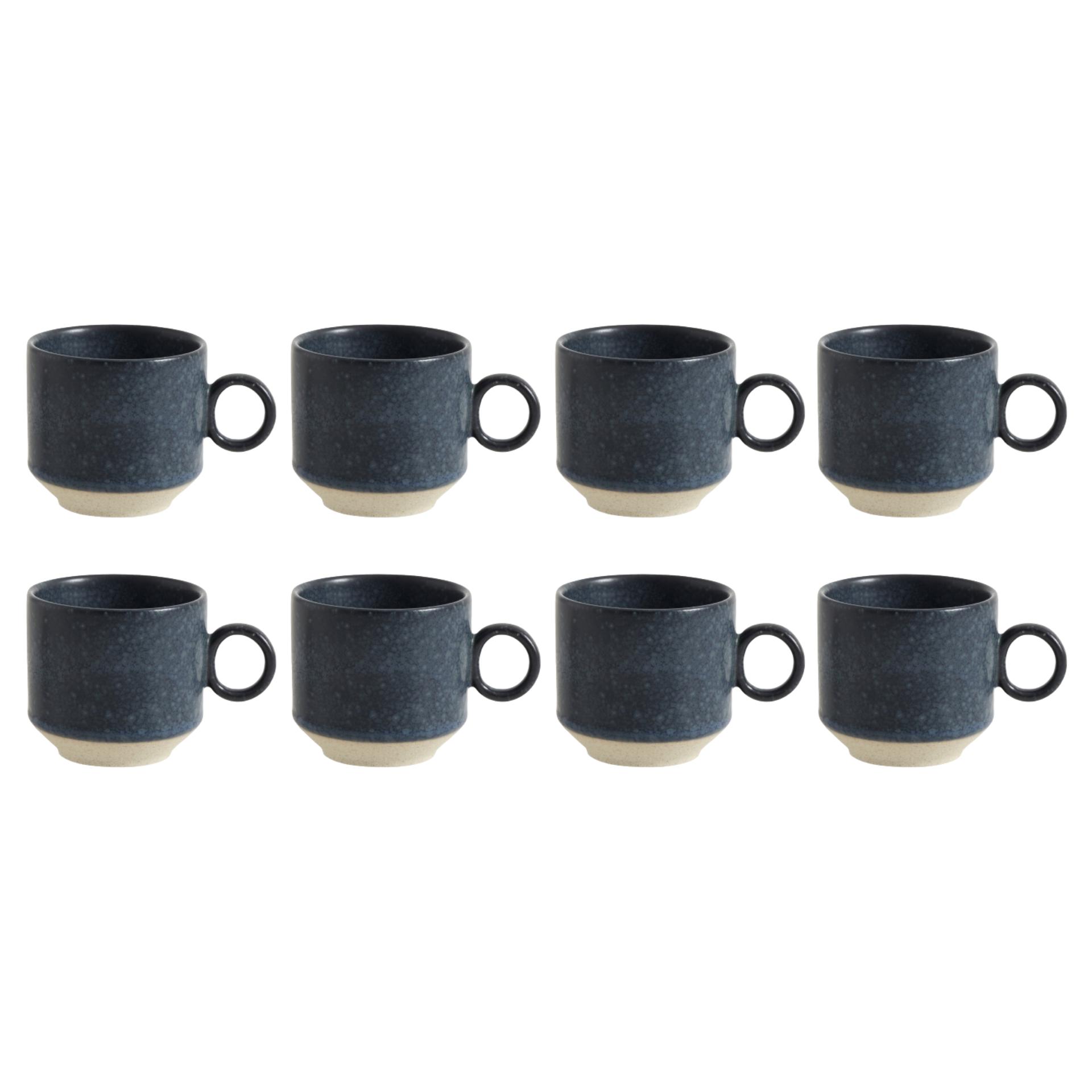 Nordal Grainy espressokopje - donkerblauw - set van 8-57023-5708309161525