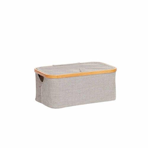 Hubsch opbergbox bamboe/textiel grijs - 38x26xh16 cm