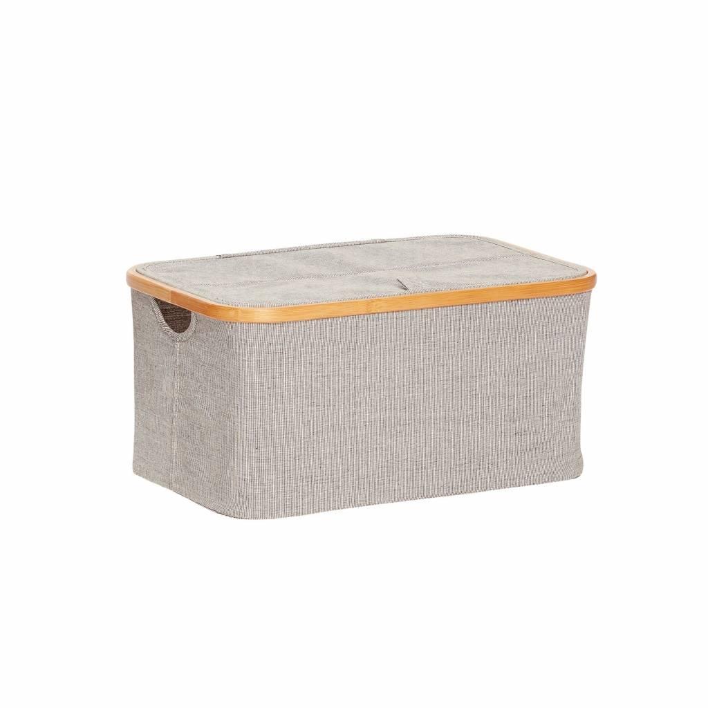 Hubsch opbergbox bamboe/textiel grijs - 45x30xh22 cm-240202-5712772052242