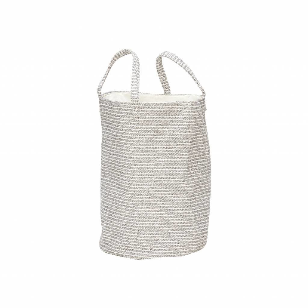 Hubsch wasmand textiel strepen grijs/wit - ø35x50 cm - 360301
