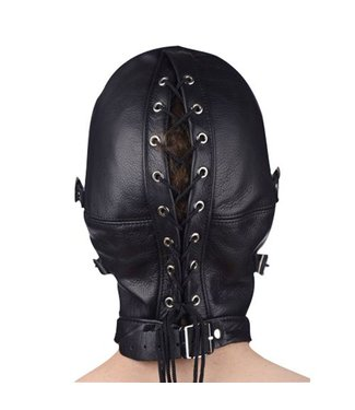 Master Series Premium Leather Hood with Blindfold and Breathable Ball Gag